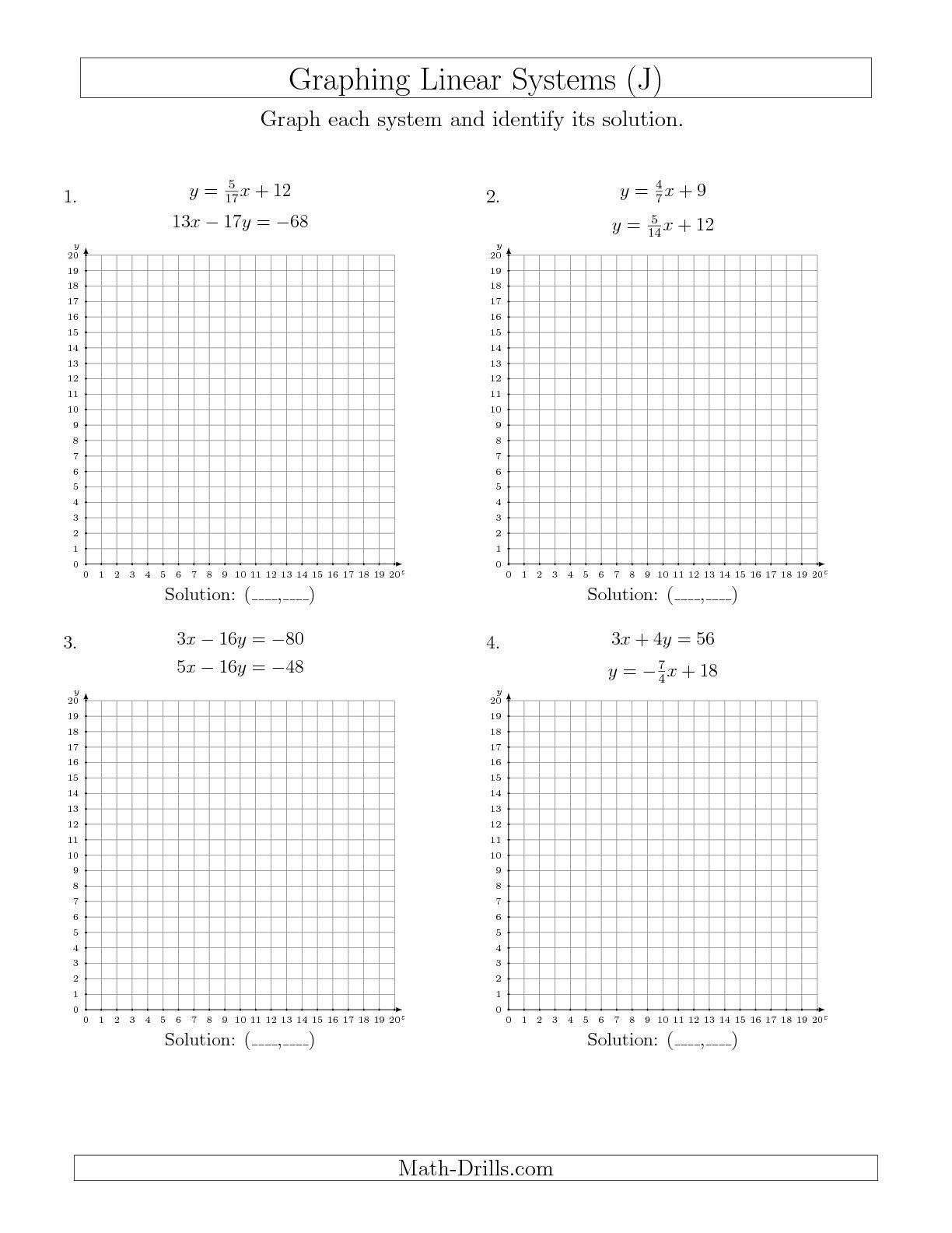 Worksheet Graphing Systems Of Linear Equations