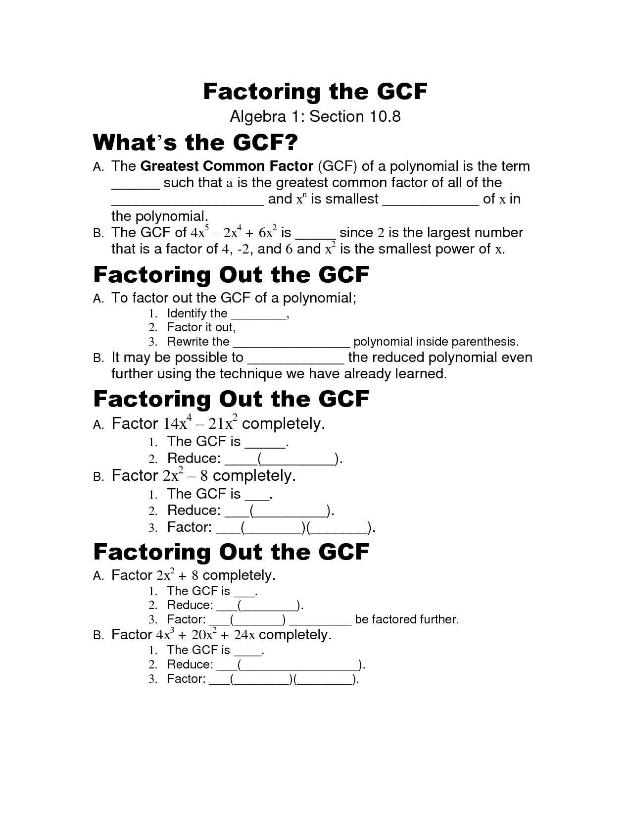 16 Best Images Of Factoring Gcf Worksheet