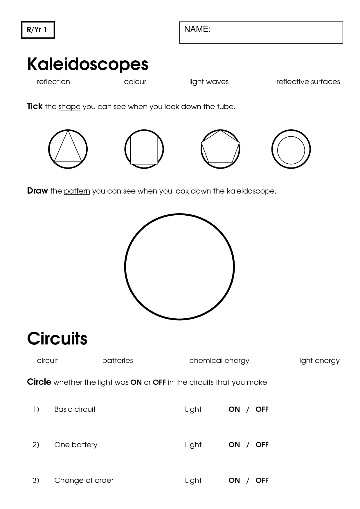 11 Best Images Of Printable Worksheets On Light