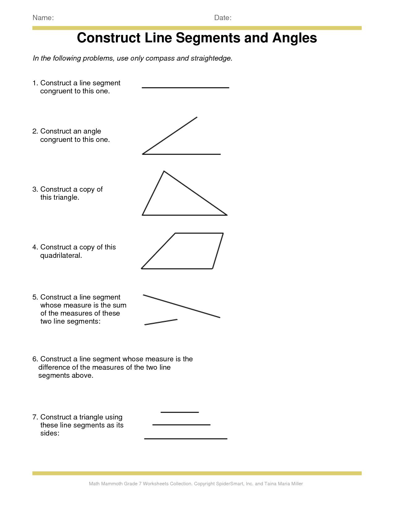 Identifying Line Segments Worksheet