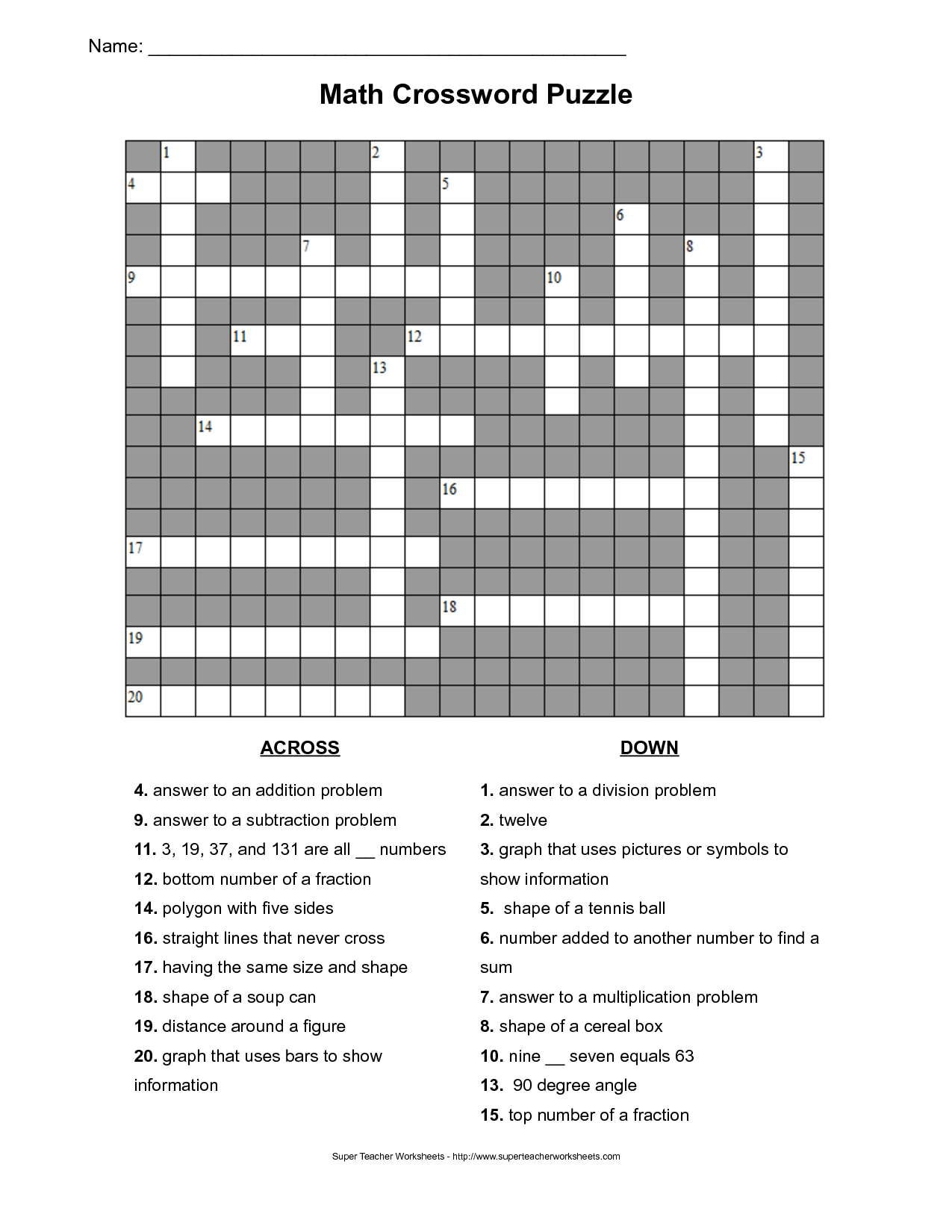 Worksheet Multiplication Crossword