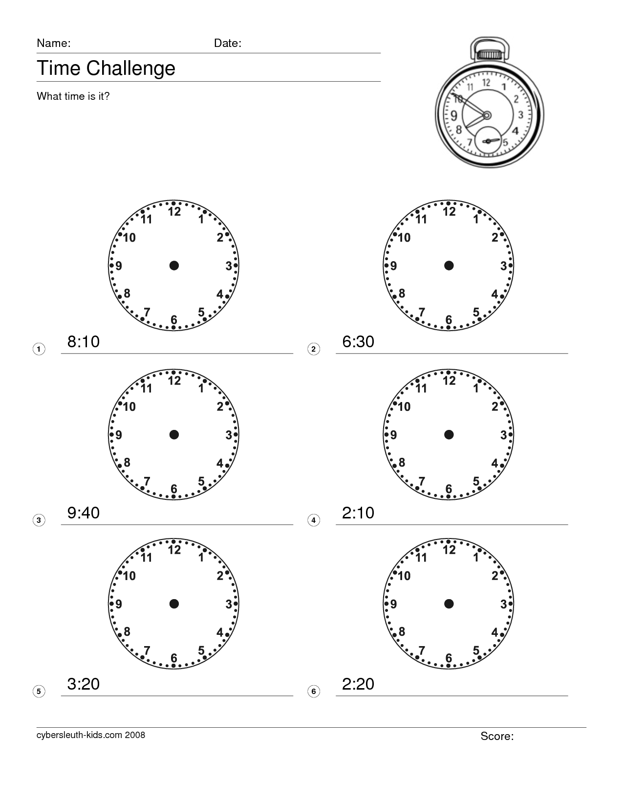 15 Best Images Of Clock Worksheet 1