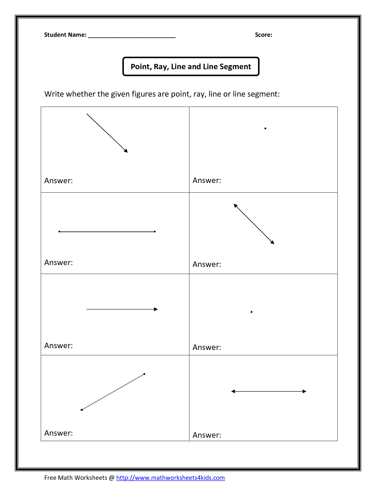 Line Segments Rays Worksheet Anwers