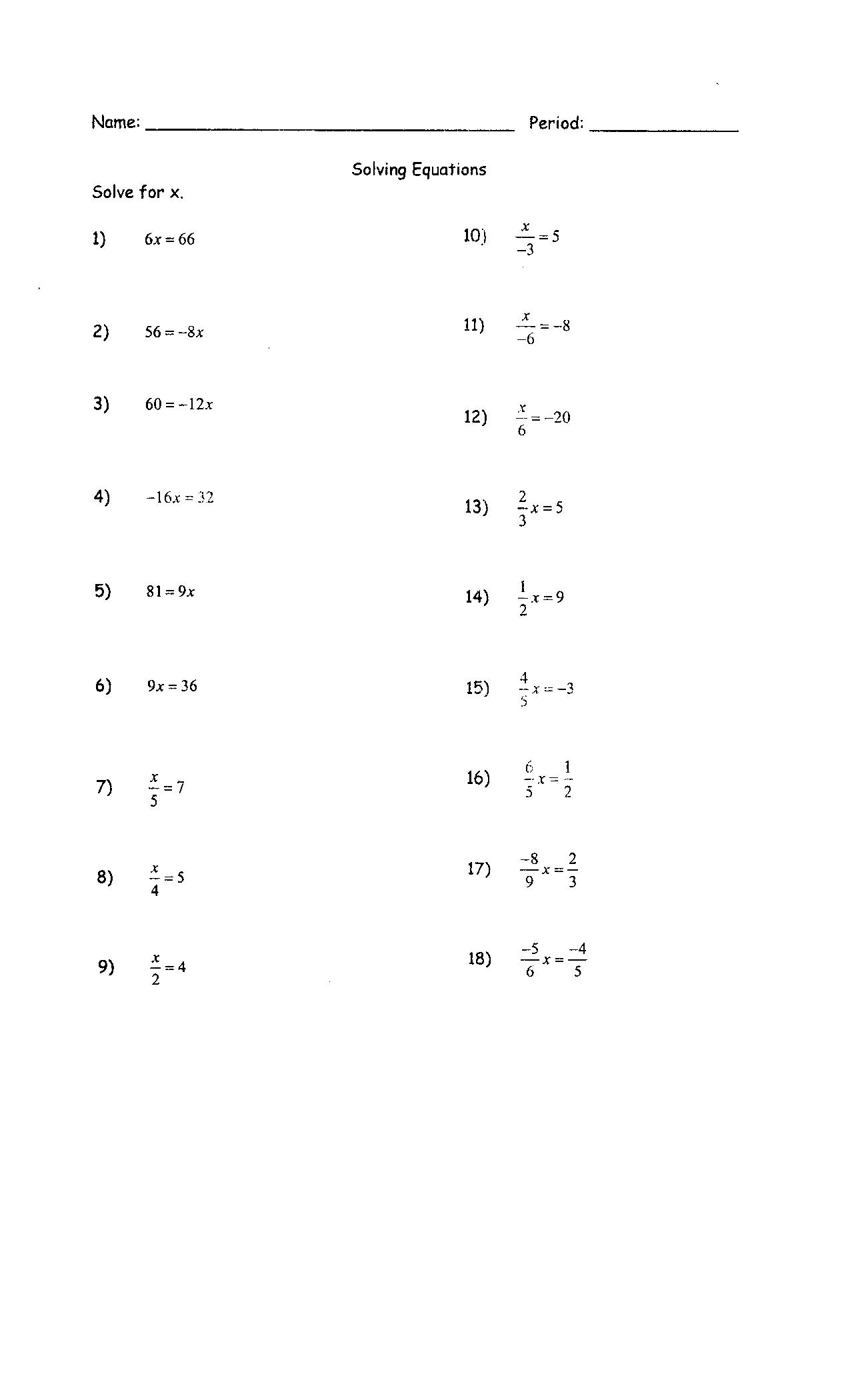 Solving Algebraic Expressions And Equations Worksheets