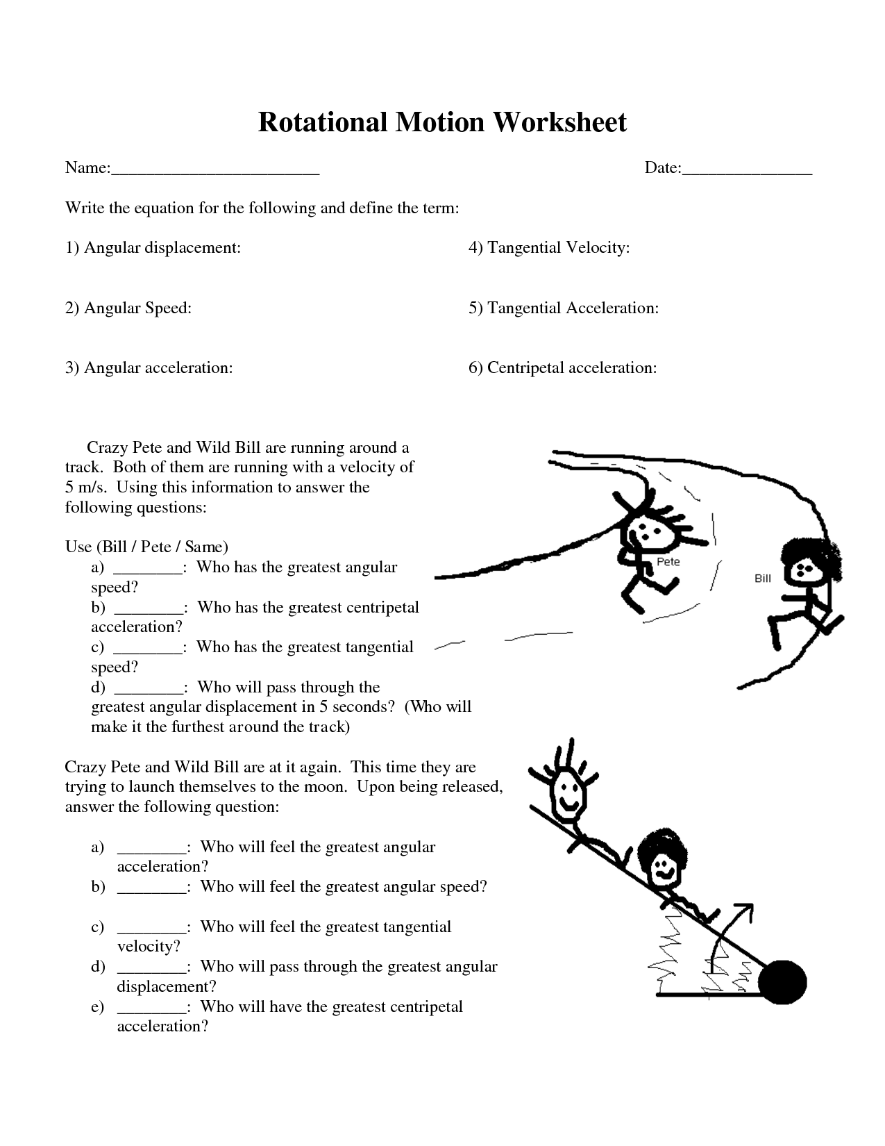 Rotational Motion Worksheet With Answers