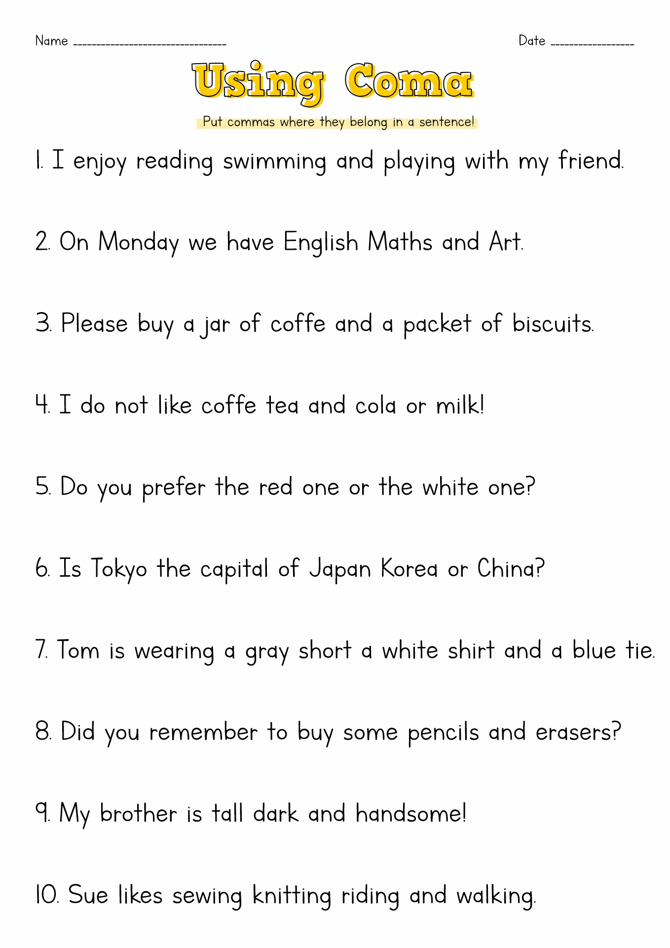 12 Best Images Of Free Printable Comma Worksheets