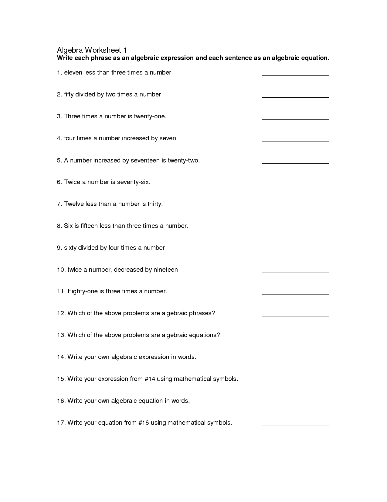 17 Best Images Of Introduction To Pre Algebra Worksheets