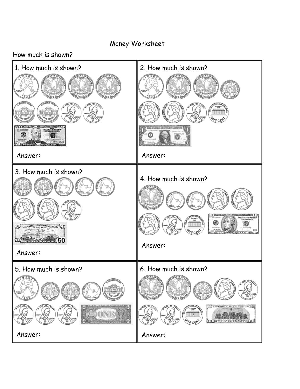 6 Best Images Of Simple Money Worksheets
