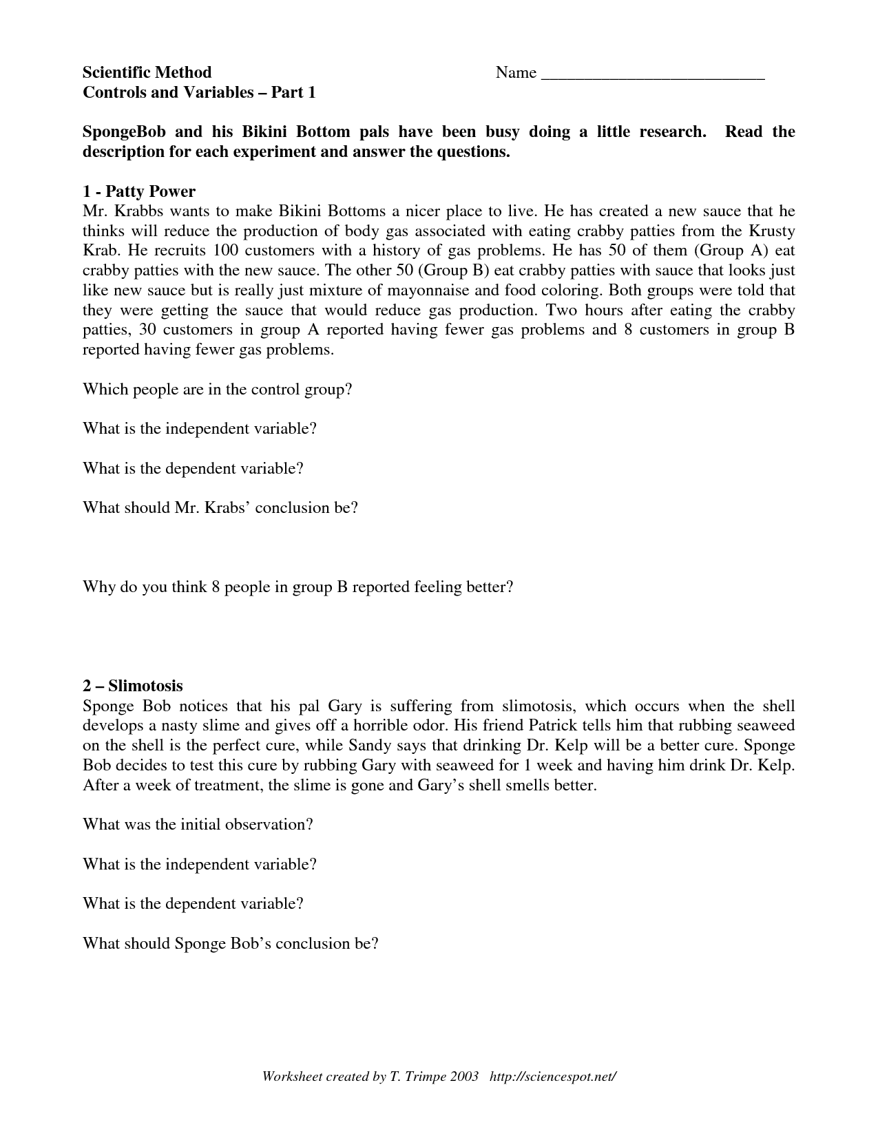 12 Best Images Of Scientific Method Worksheet Answer Key