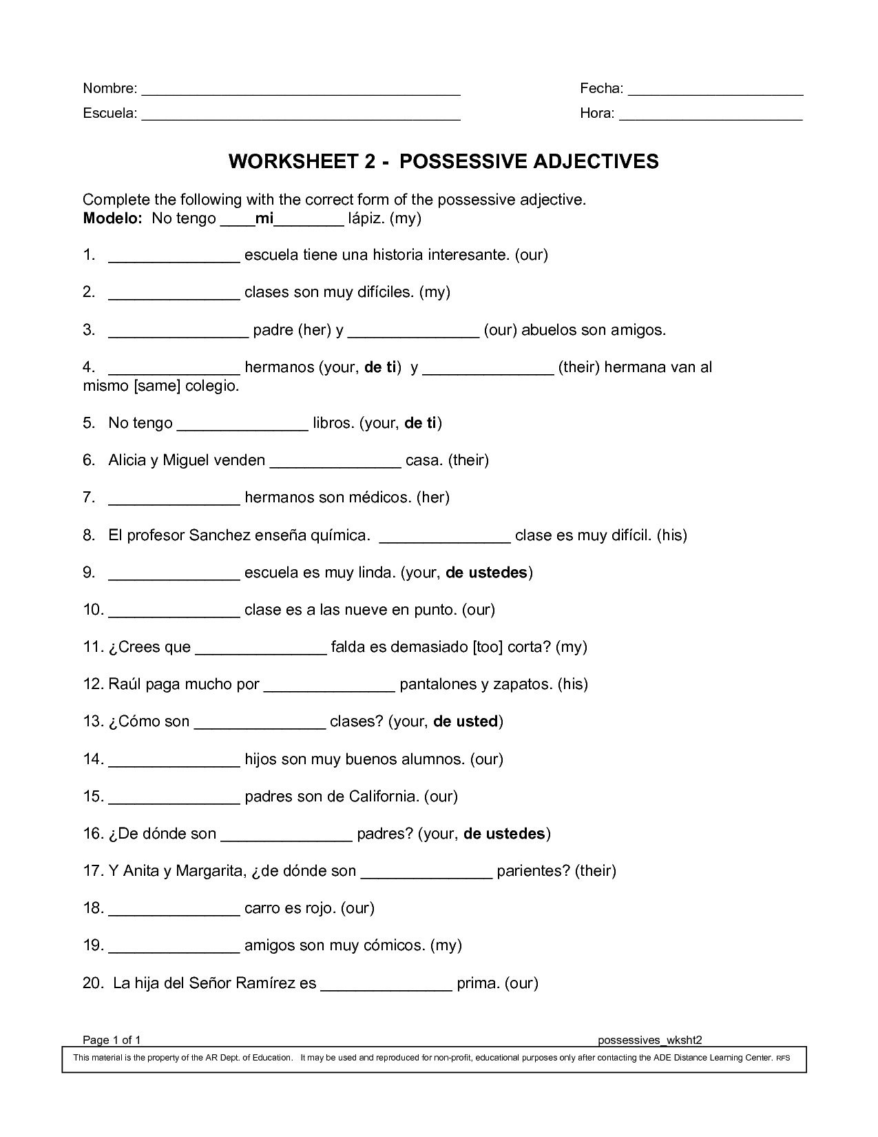 Possessive Adjective Worksheet