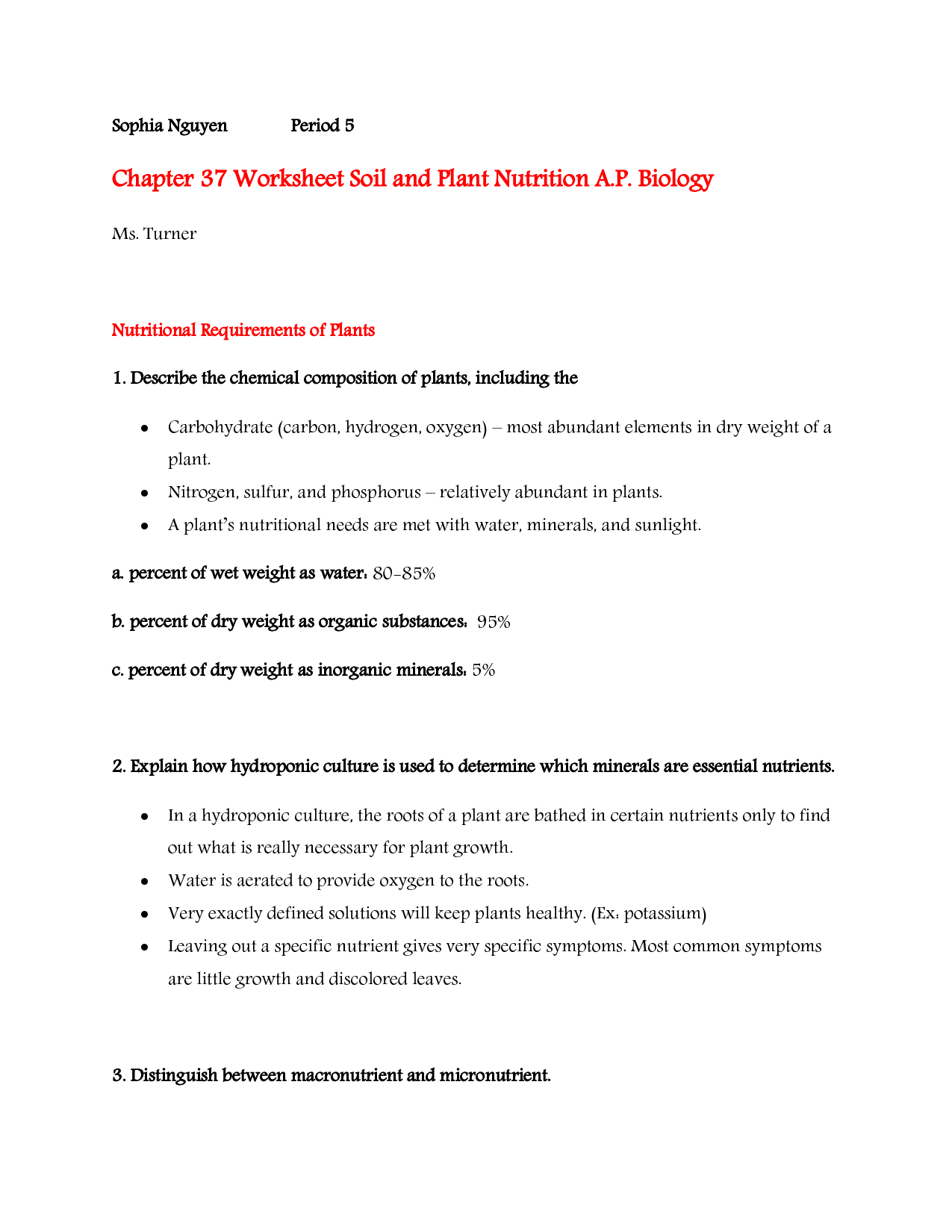 14 Best Images Of Plant Nutrition Worksheet