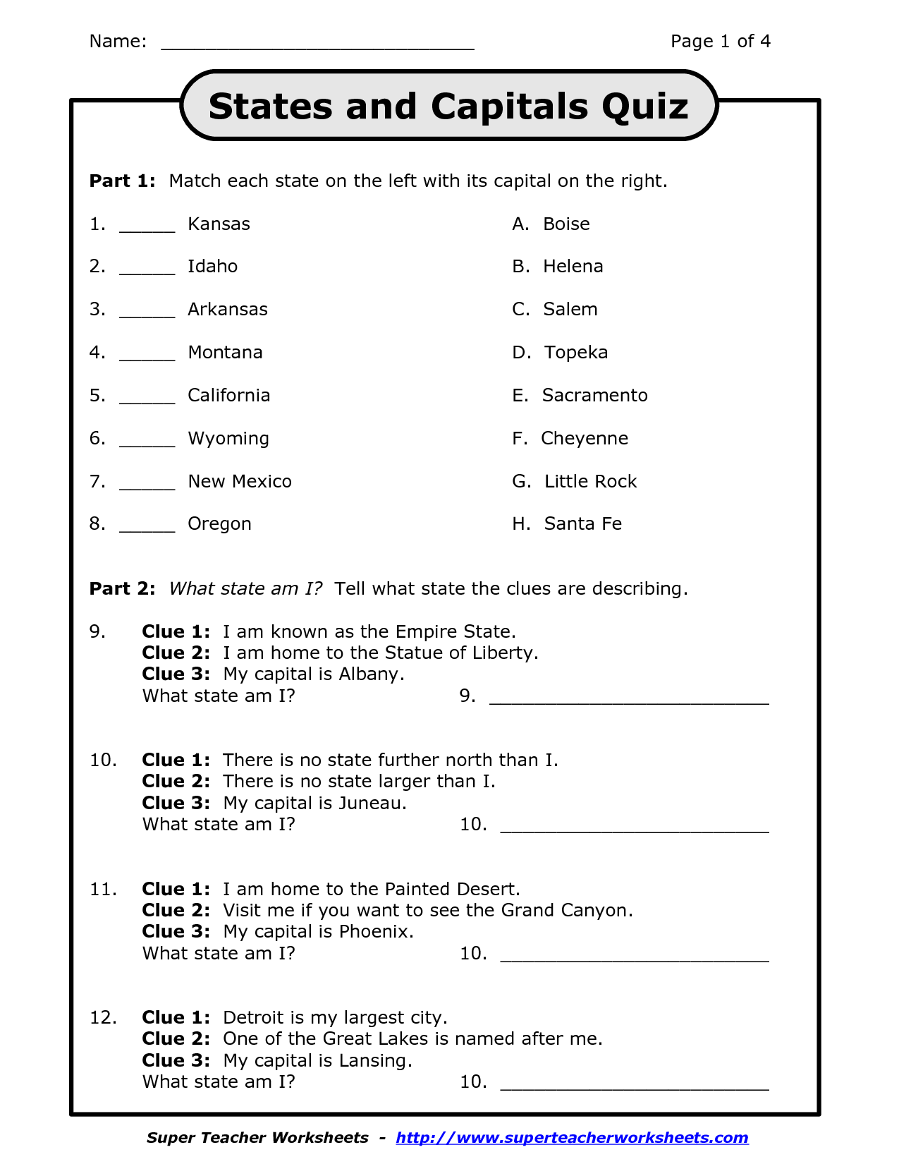 14 Best Images Of States And Capitals Worksheets