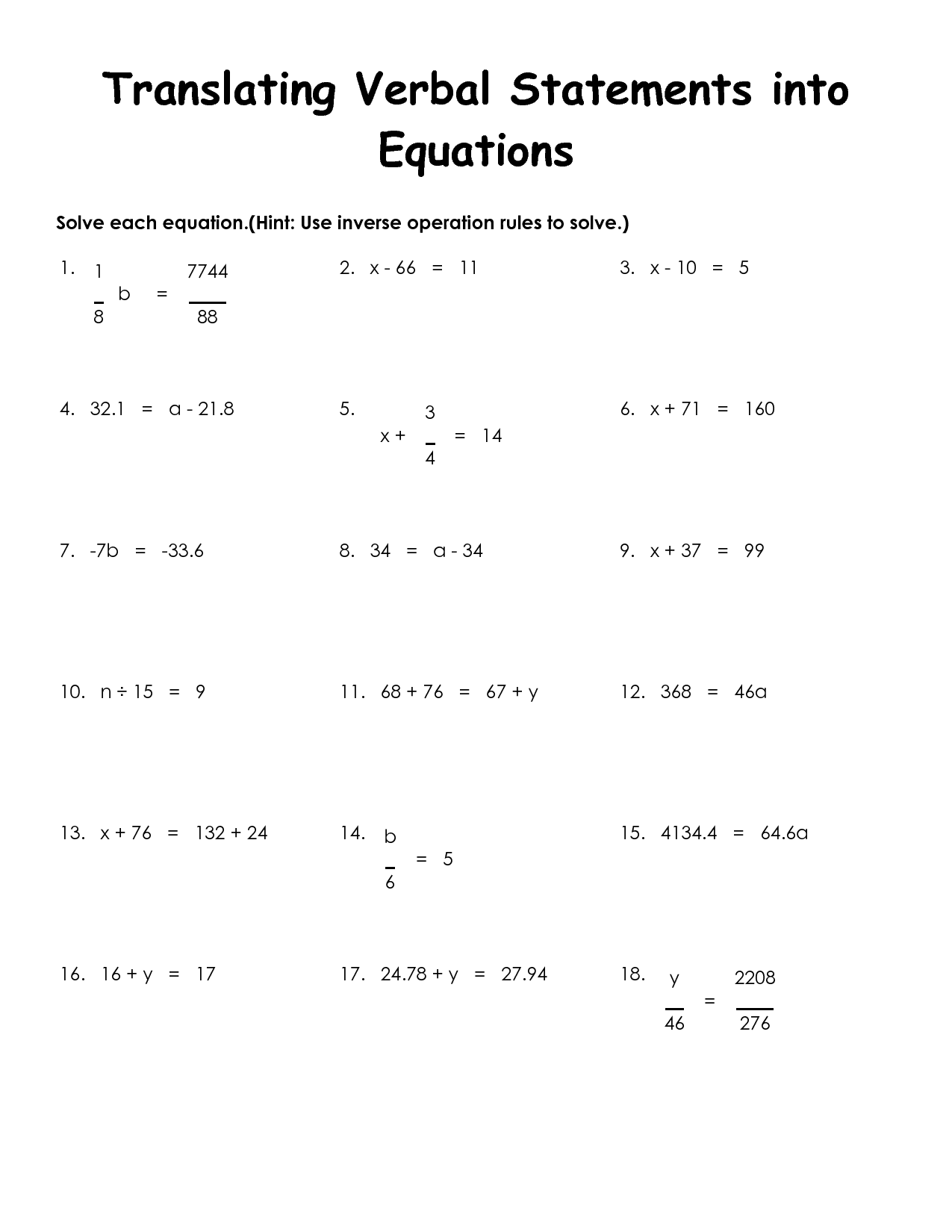 5 Best Images Of Words Into Equations Worksheet