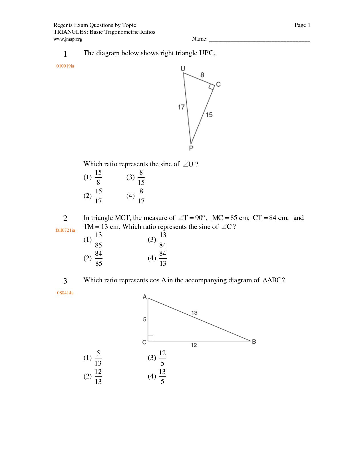 14 Best Images Of Basic Trigonometry Worksheet