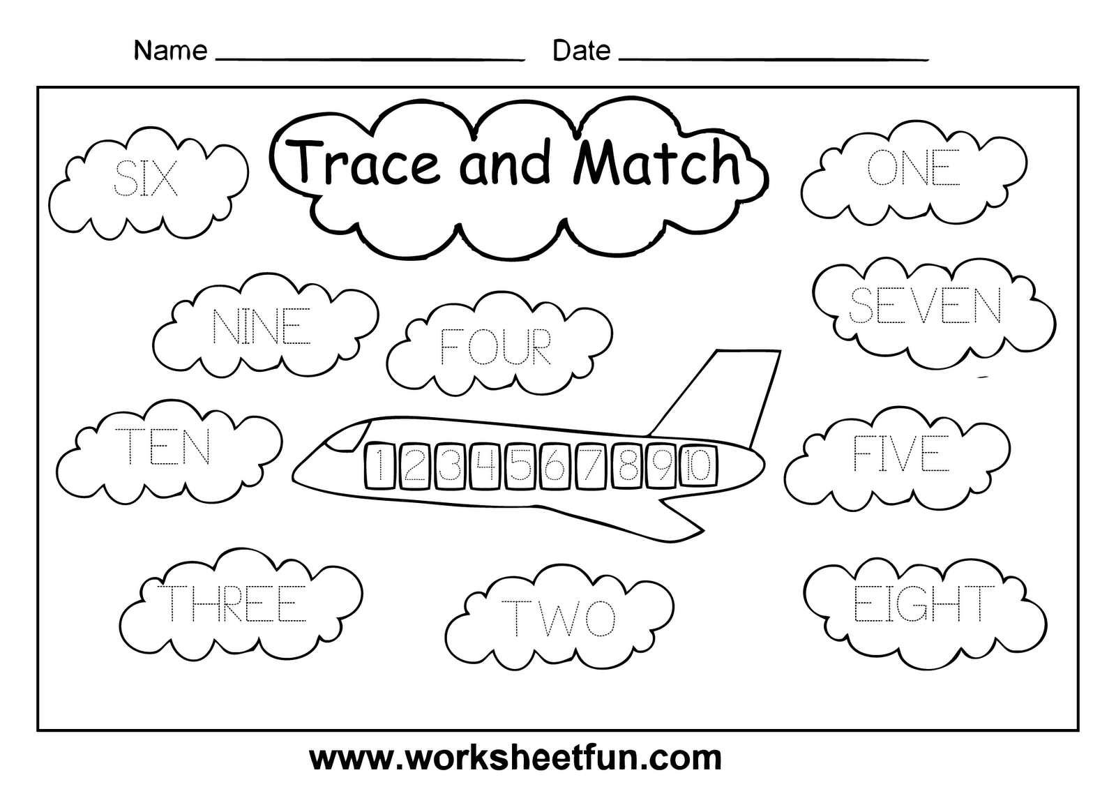 15 Best Images Of Number Matching 1 10 Worksheets Kindergarten