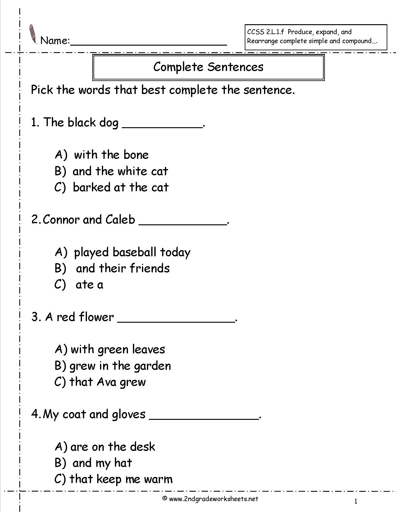 Copy Sentence Worksheet First Grade