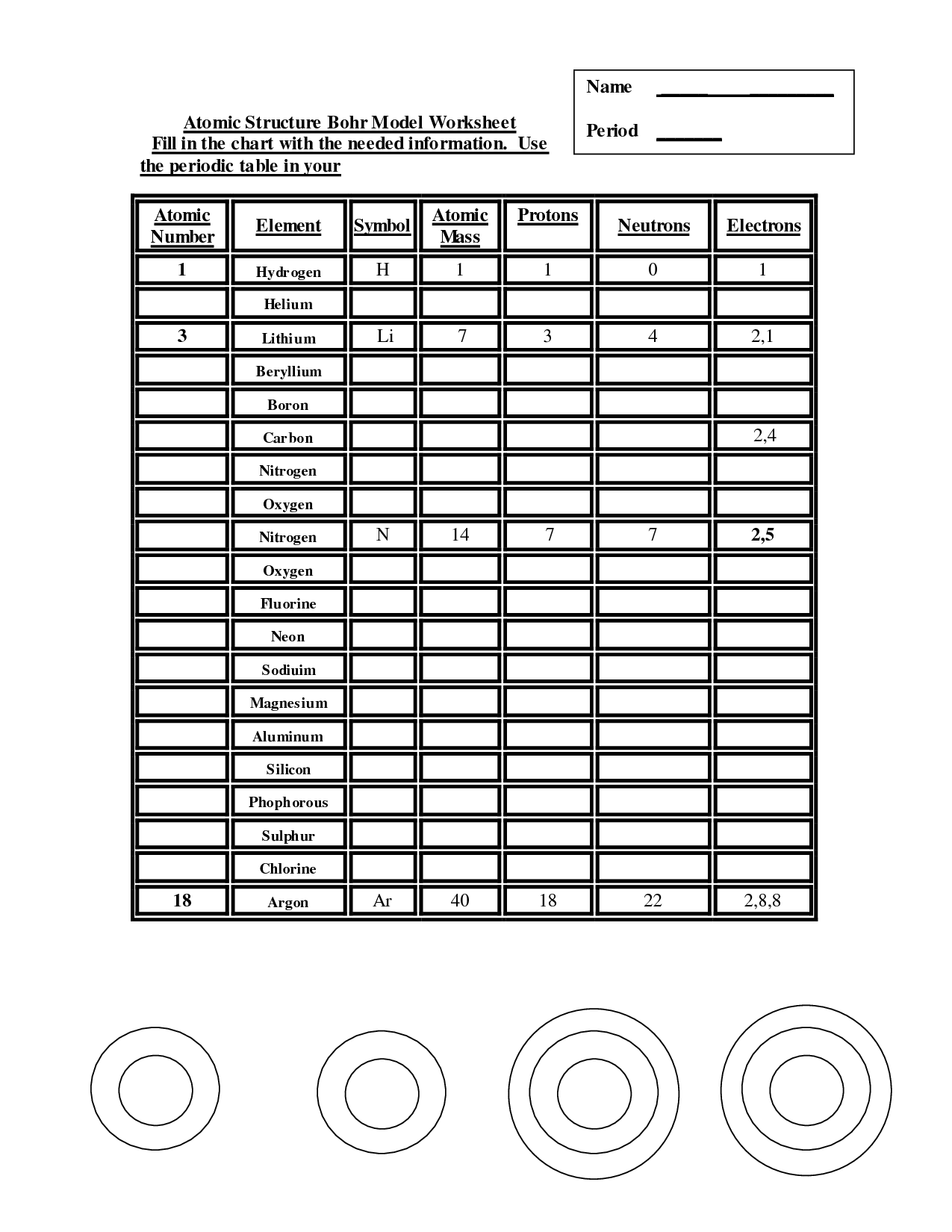 15 Best Images Of Atomic Model Worksheet