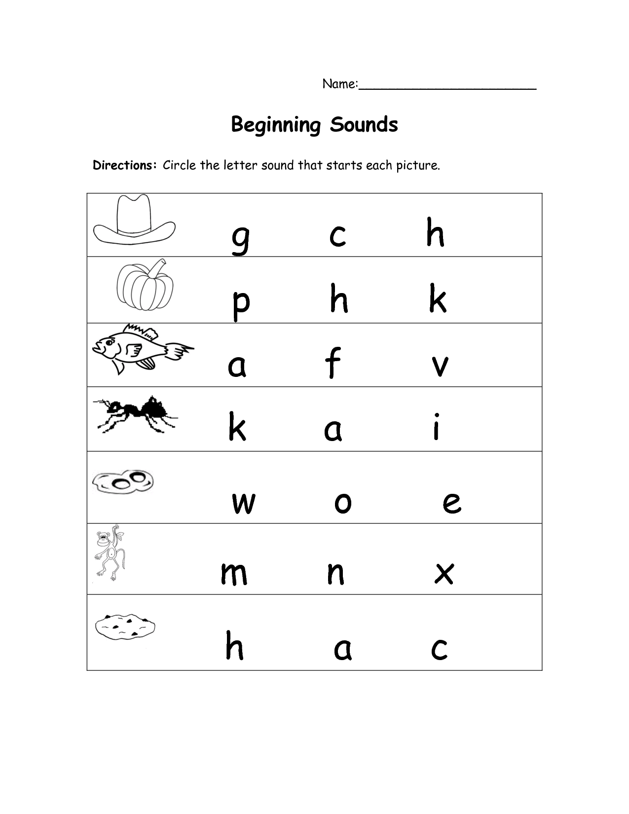 Kindergarteen Ending Sound Worksheet