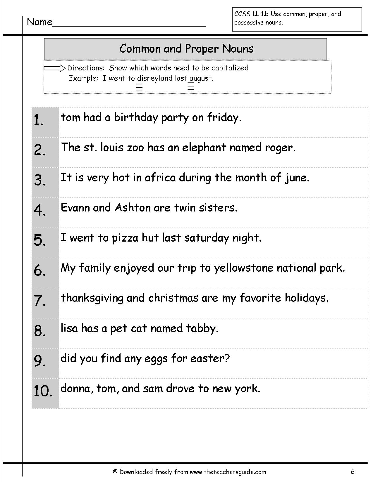 13 Best Images Of Common And Proper Nouns Worksheets