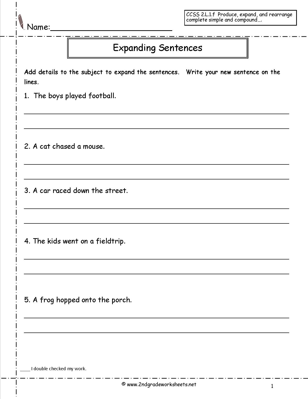 16 Best Images Of Copy Sentence Worksheet First Grade