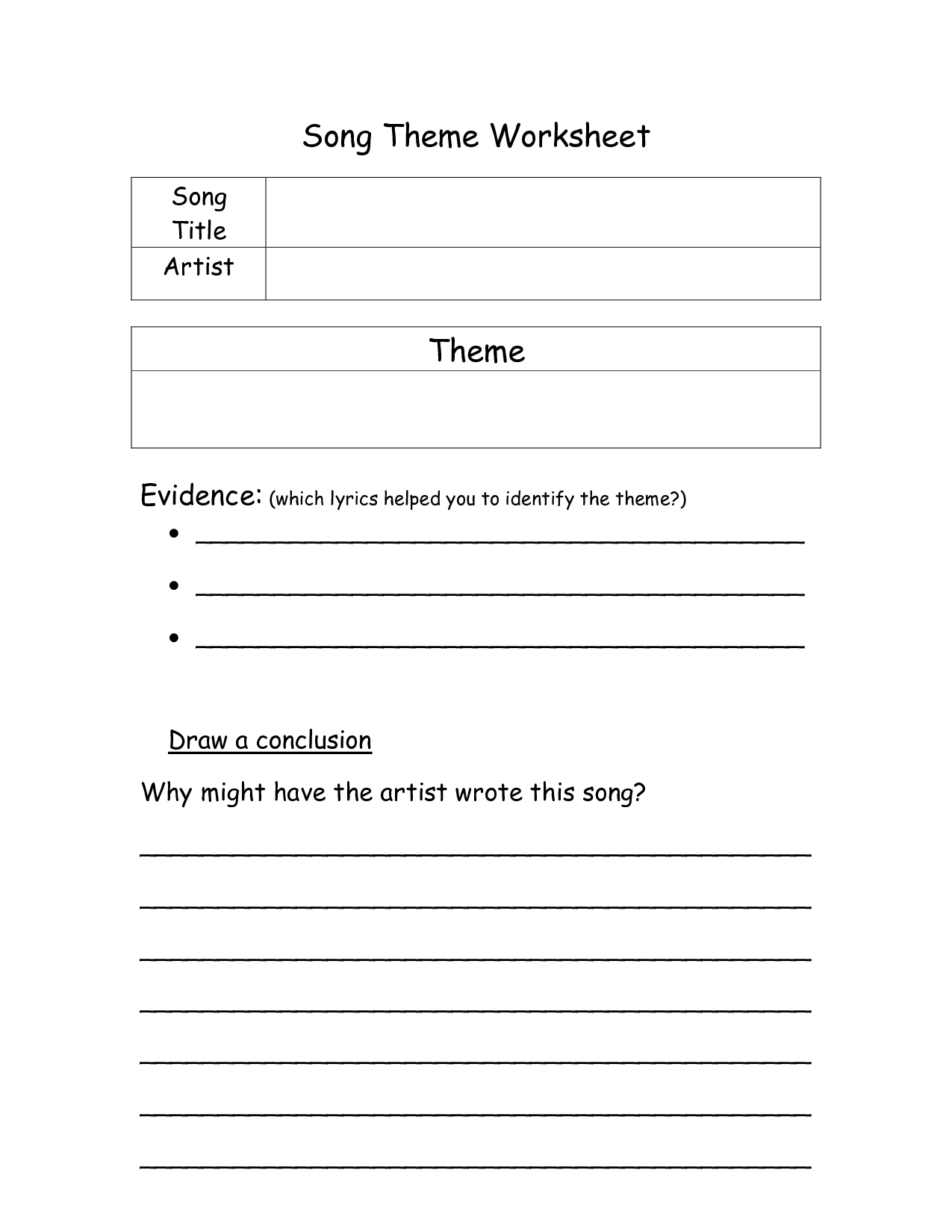 12 Best Images Of Worksheets Finding The Theme