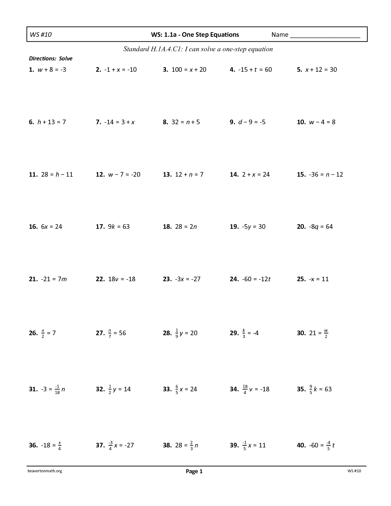 Addition Linear Equations Worksheet