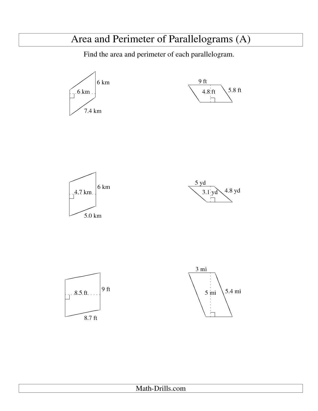 14 Best Images Of Area Parallelogram Worksheet