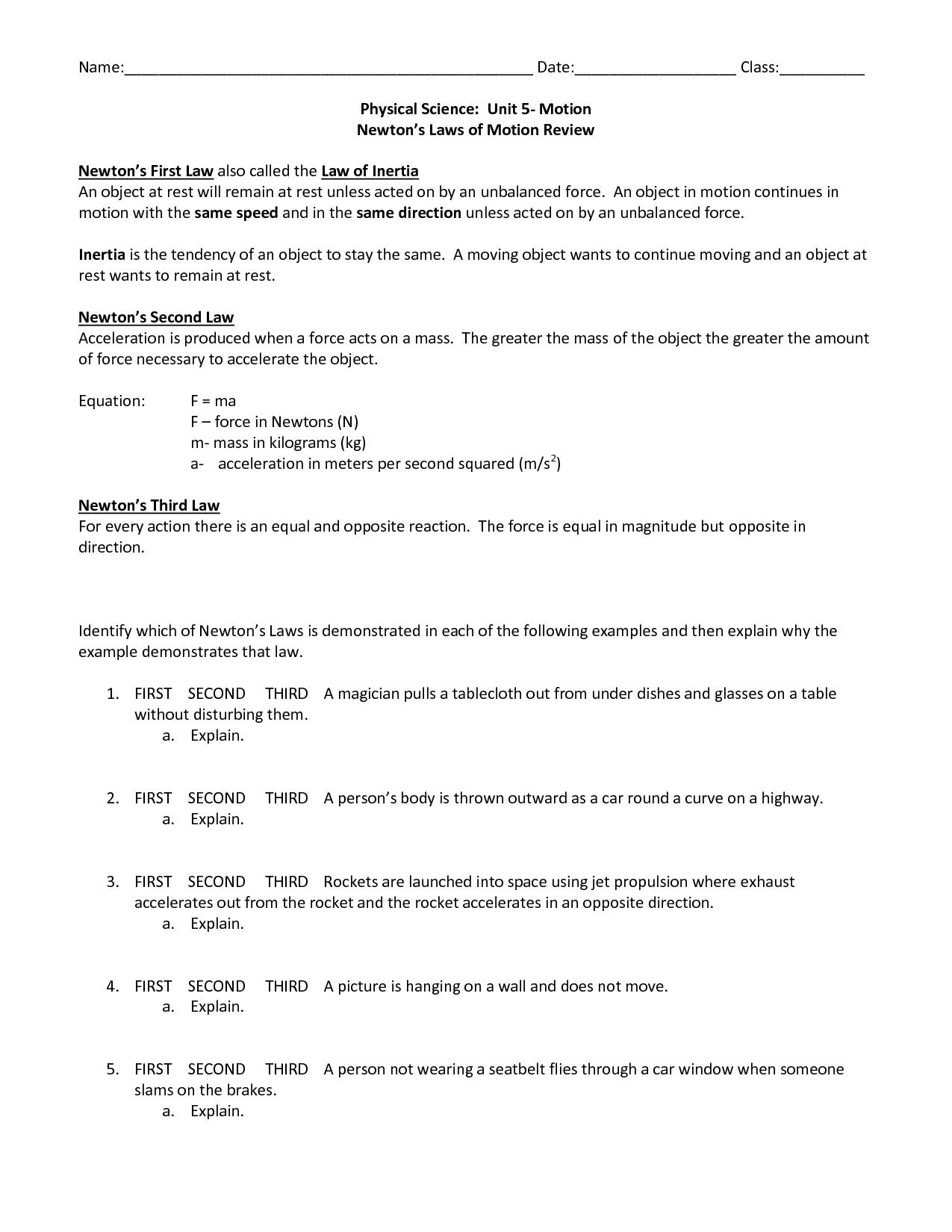 12 Best Images Of Laws Of Motion Worksheets Newton S