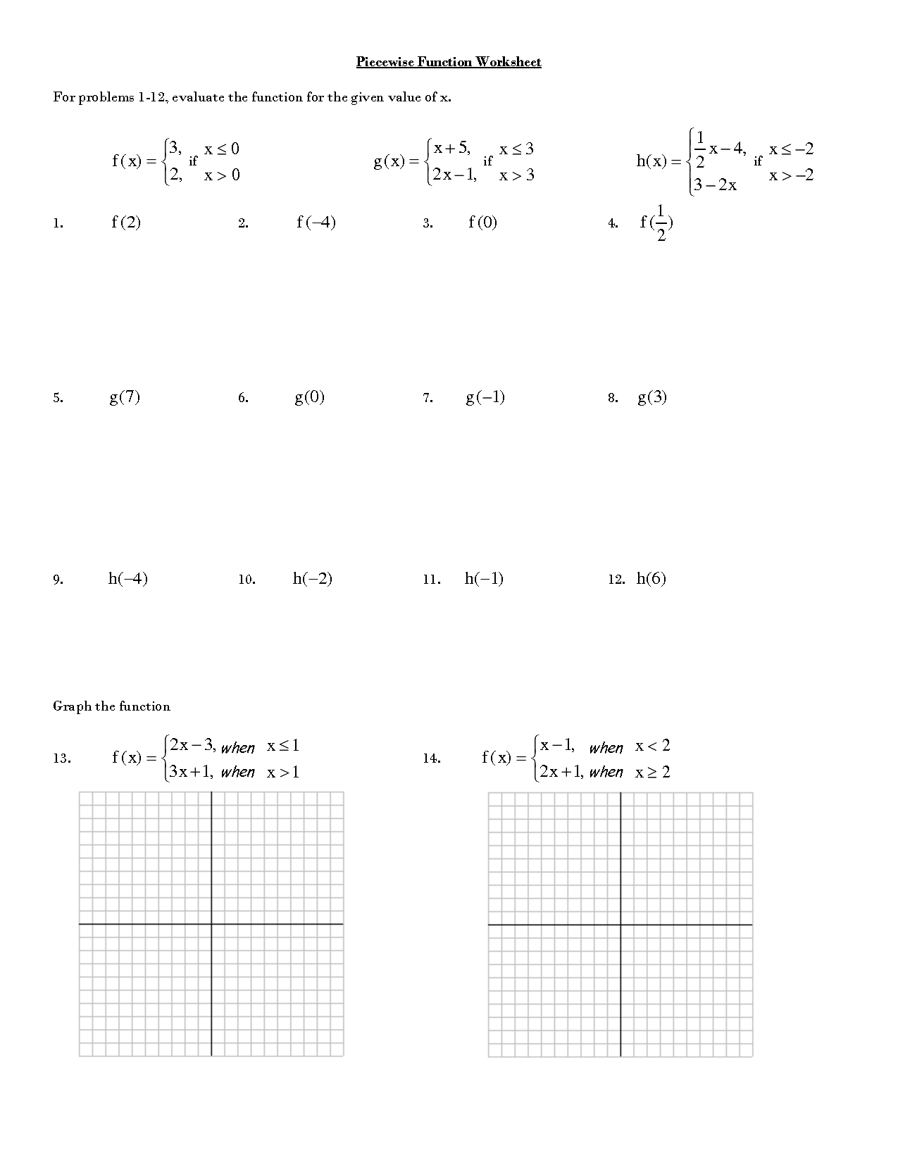 Piecewise Functions Evaluate Worksheet Answers