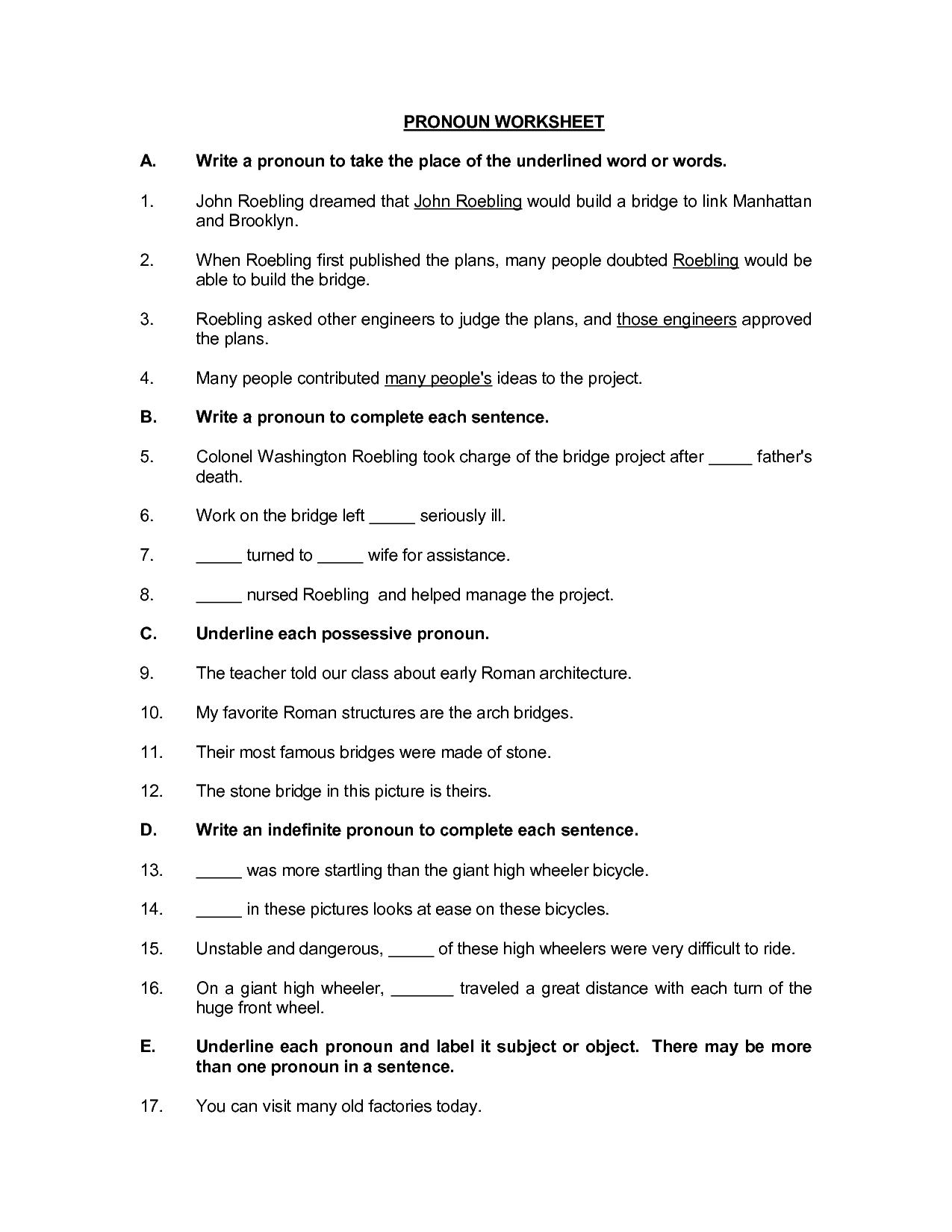 Pronoun Reference Worksheet Esl