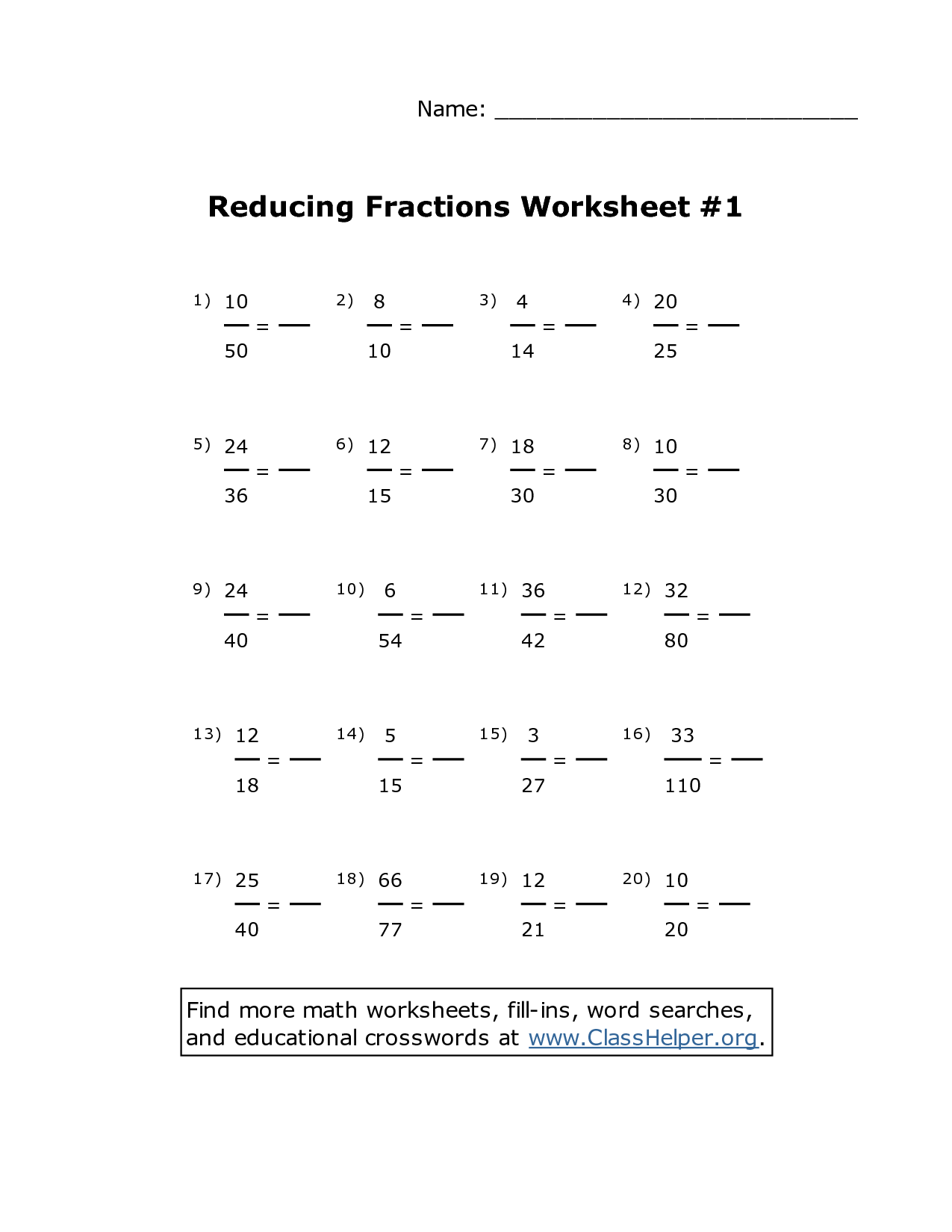 Simplifying Fractions Worksheet 4th Grade
