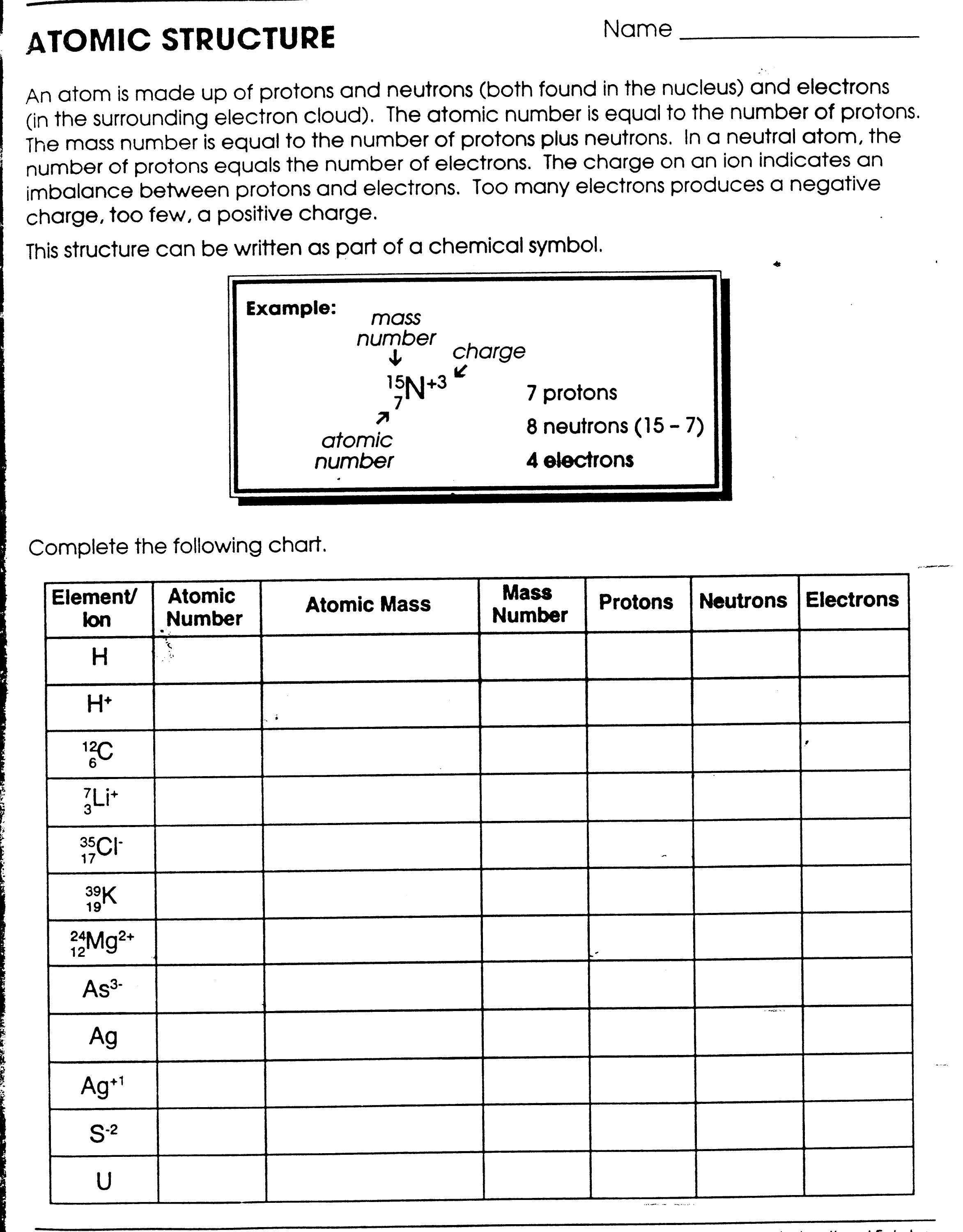 Worksheet Atomic Structure Answers 3 6