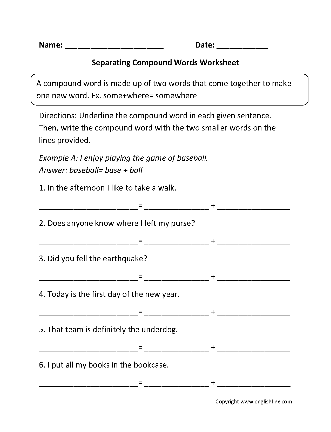 Compound Word Worksheet Grade 4