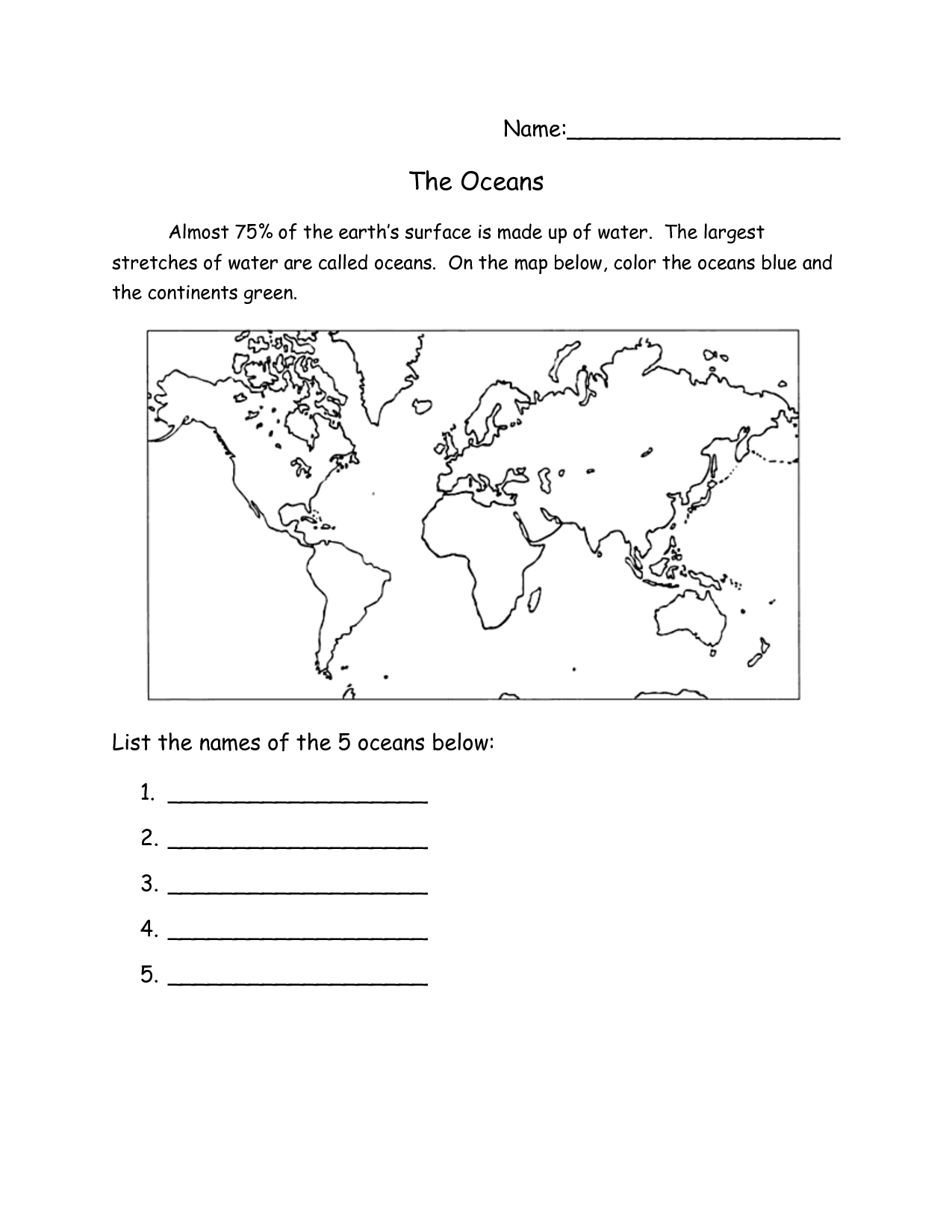 9 Best Images Of Continents And Oceans Worksheets 2nd