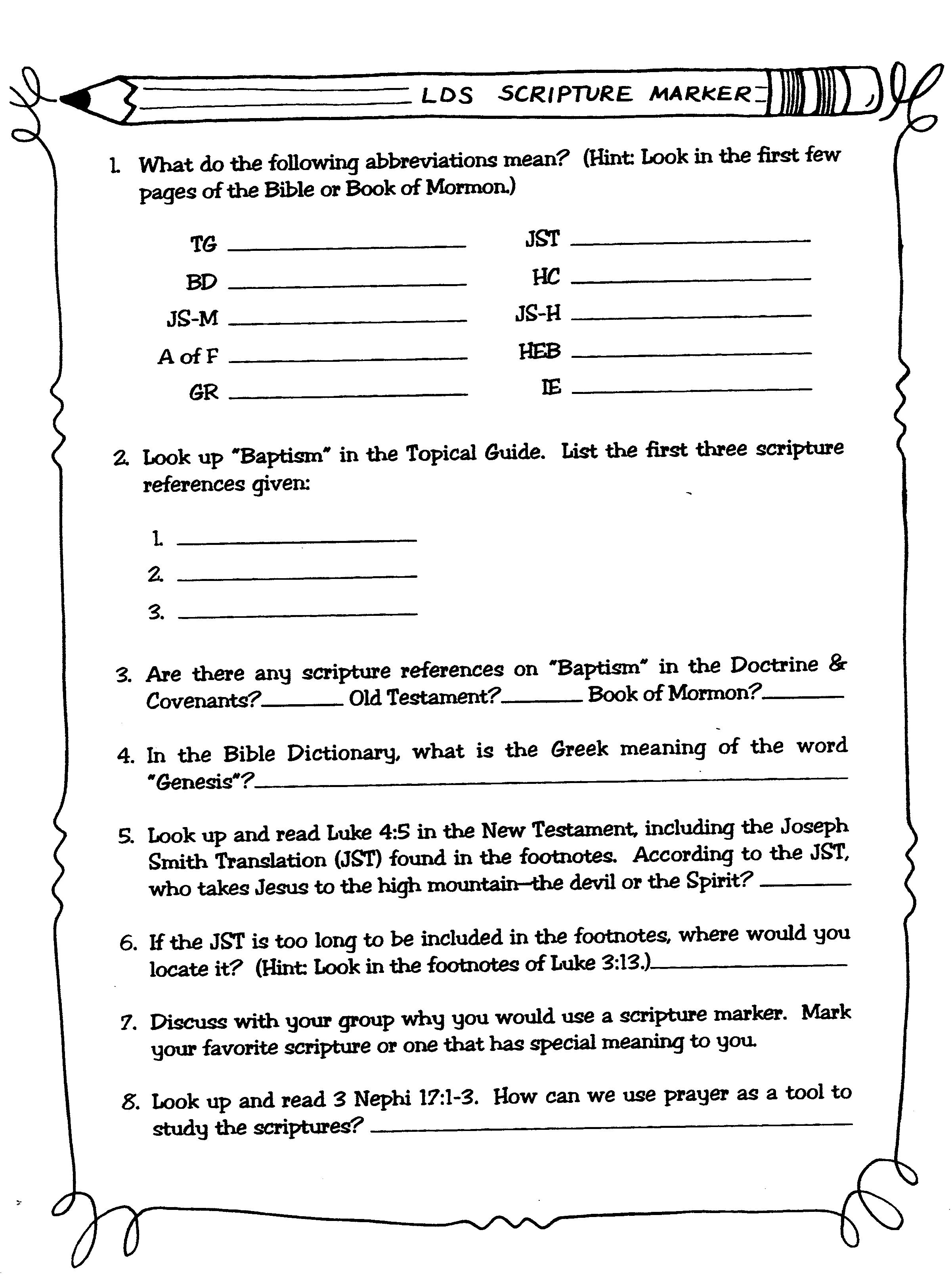 Life Recovery Bible Worksheet