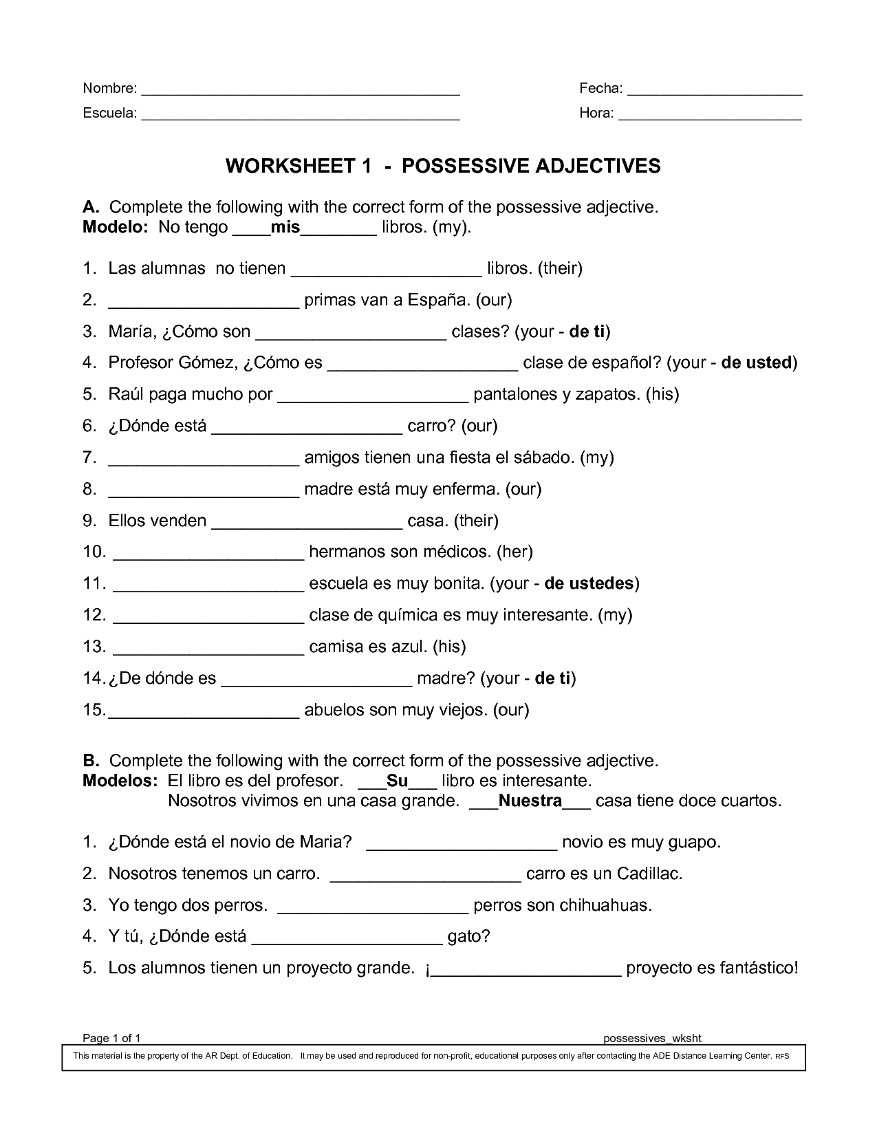 16 Best Images Of Spanish Possessive Pronoun Worksheets