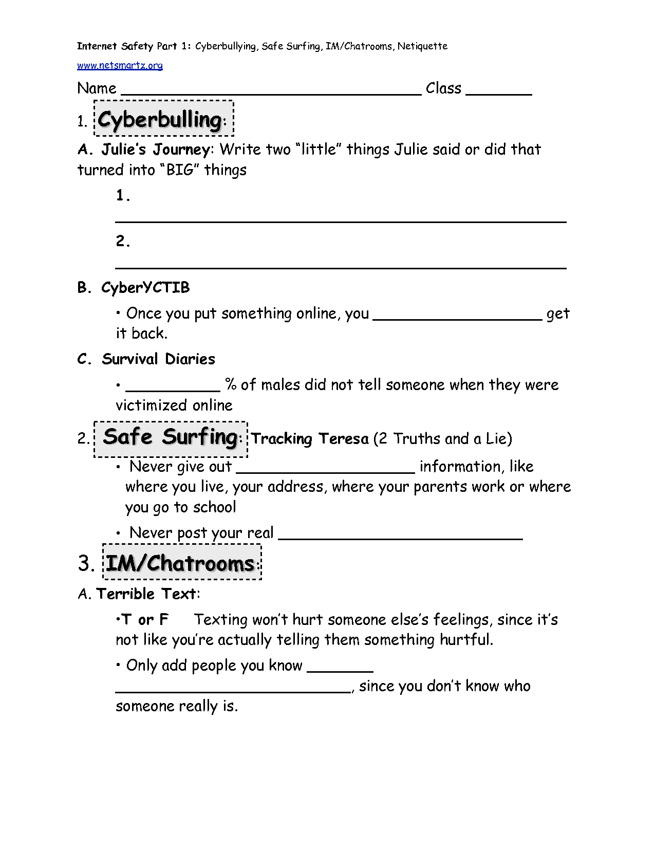 Staying Safe Worksheet