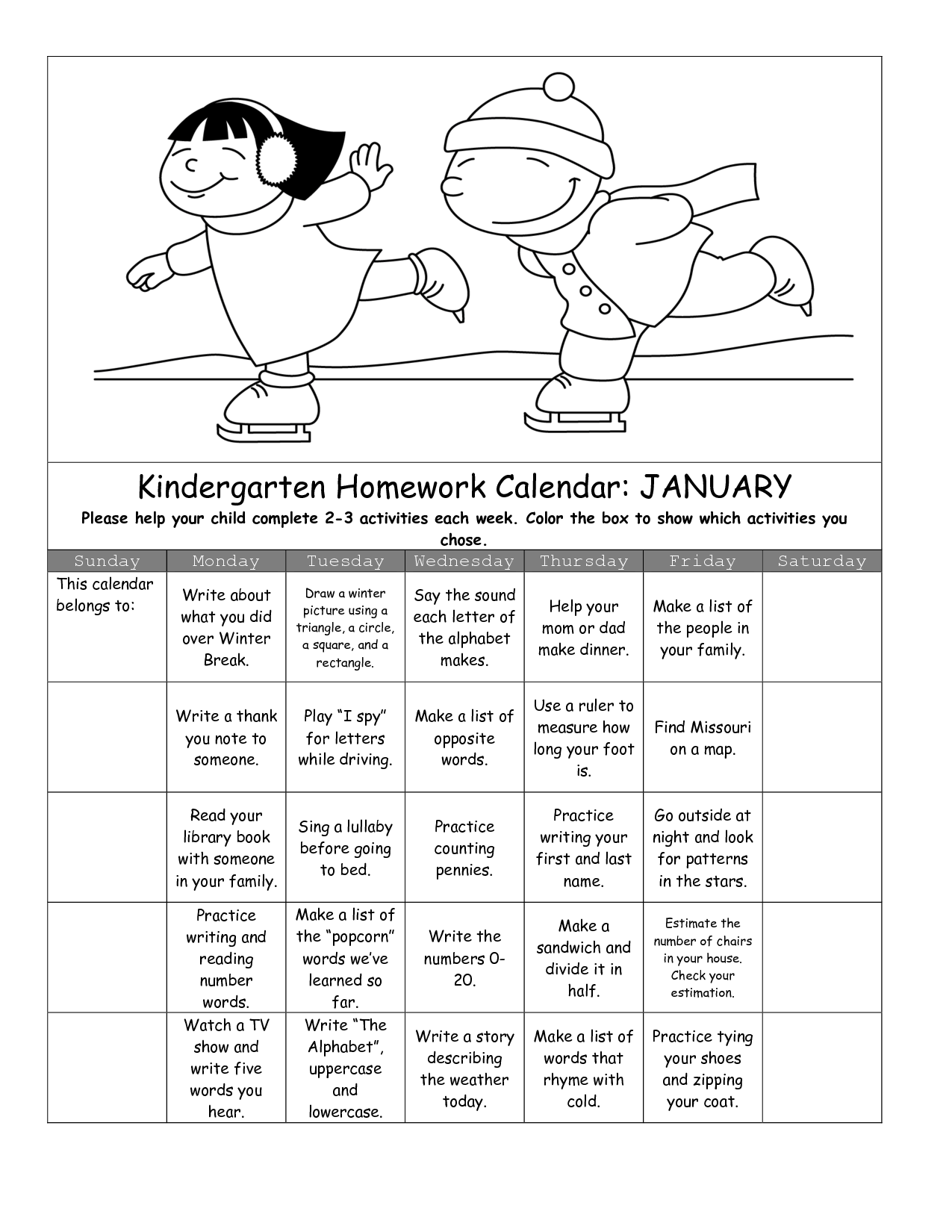 Reading Calendar Free Worksheet Math