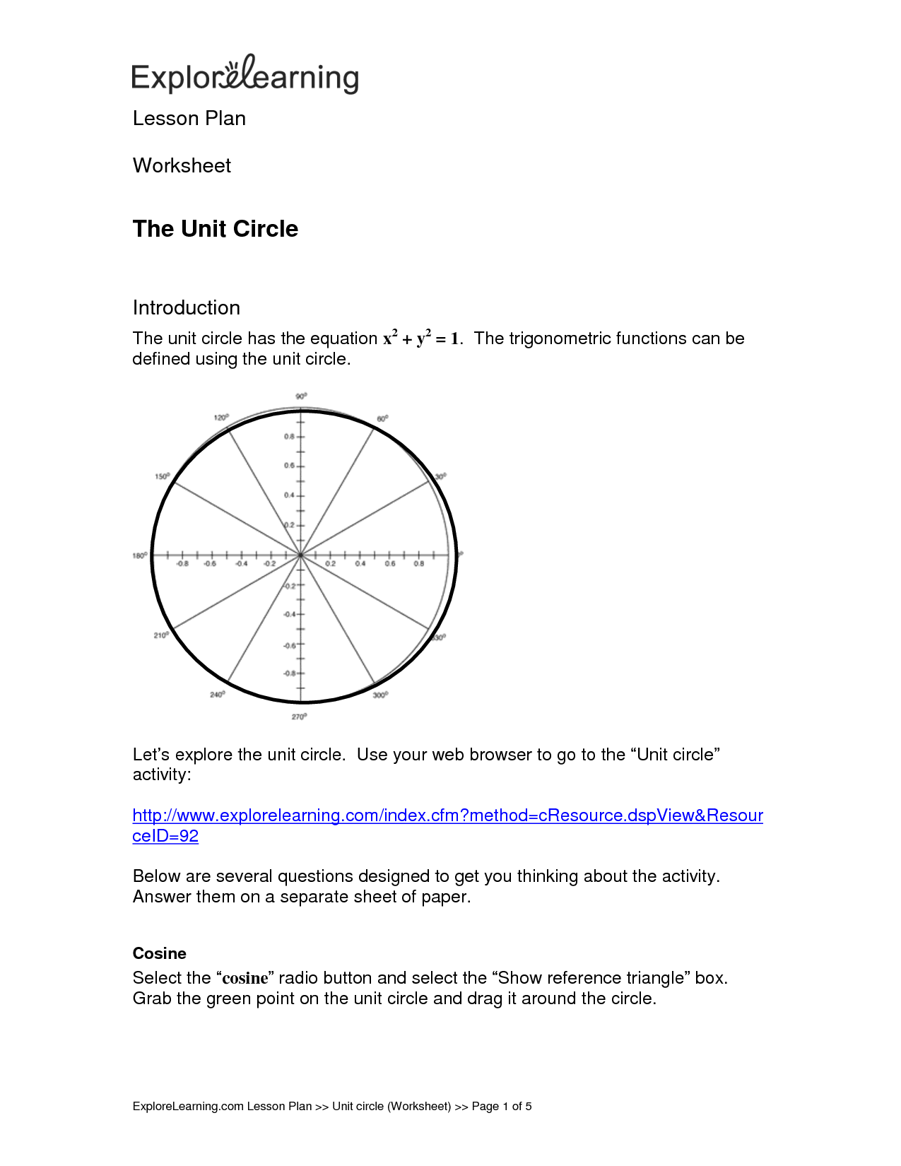 13 Best Images Of Unit Circle Worksheet With Answers