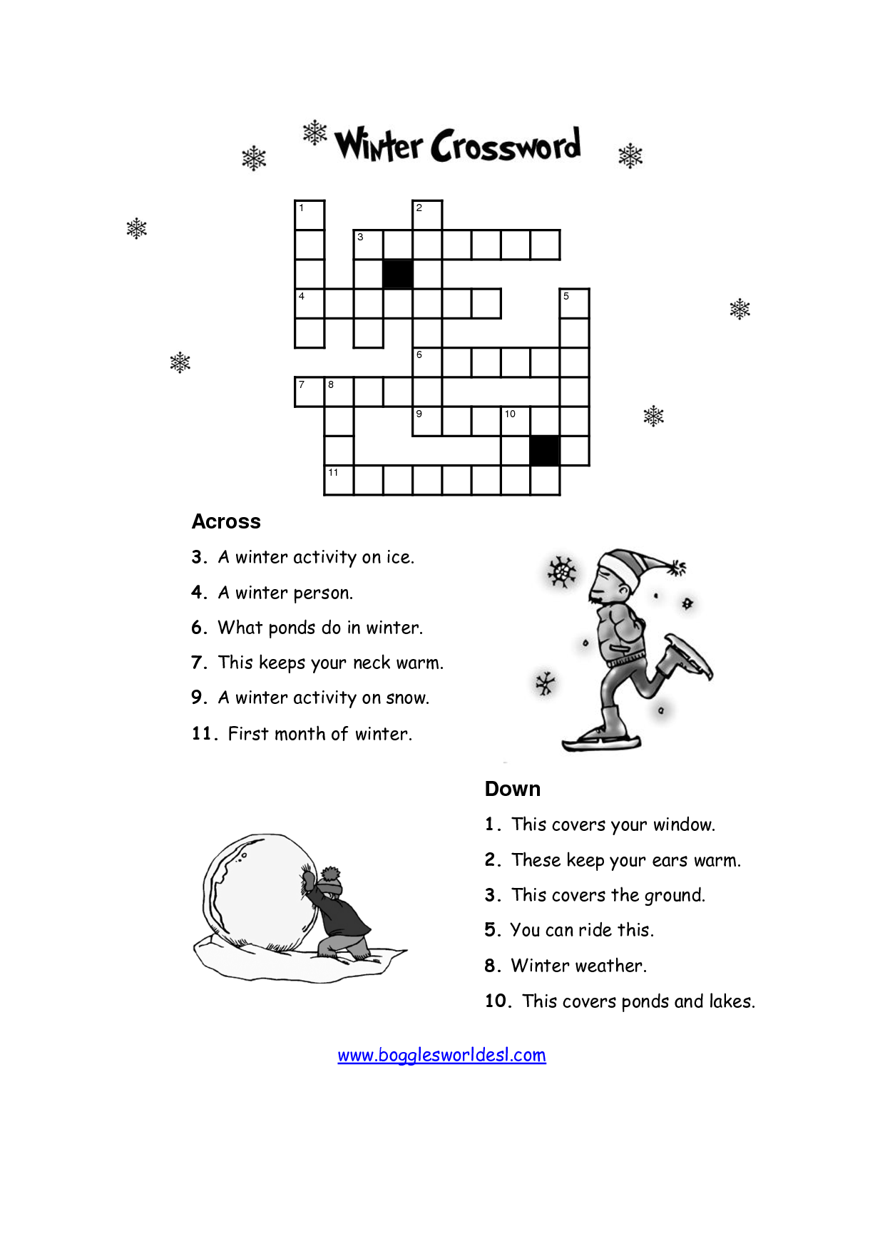 Winter Math Puzzle Worksheet