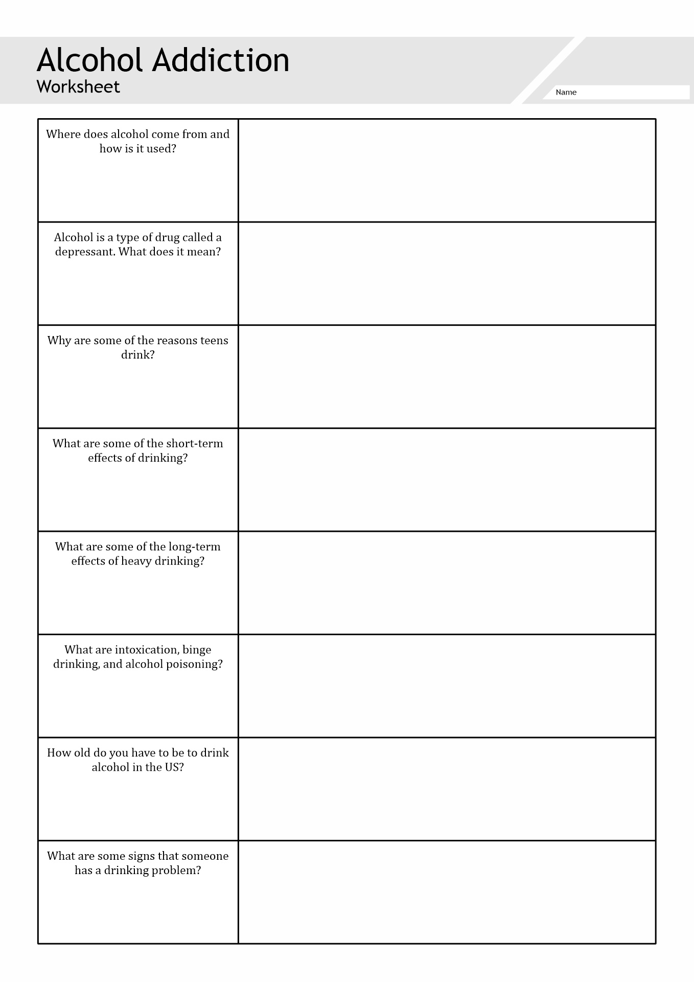 Alcohol Recovery Worksheet