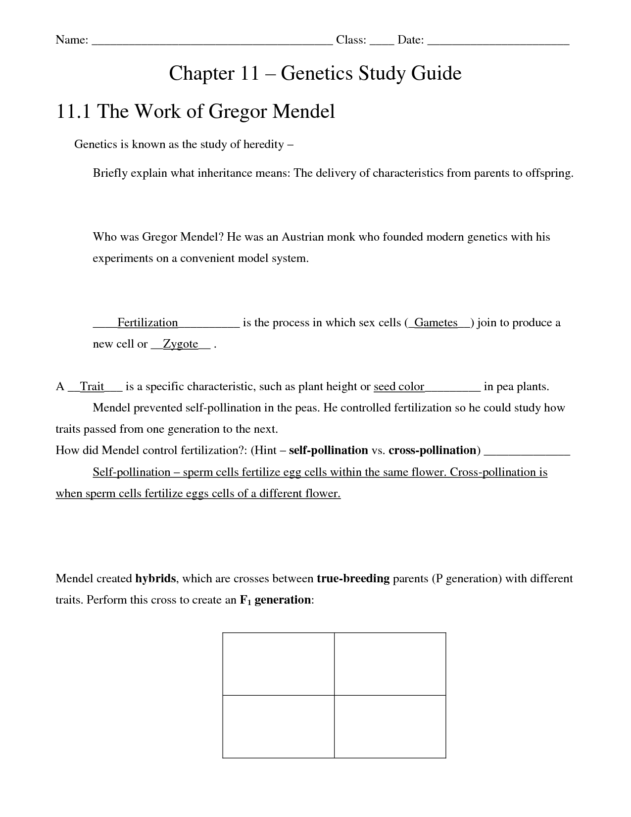 12 Best Images Of Chapter 11 Dna And Genes Worksheet