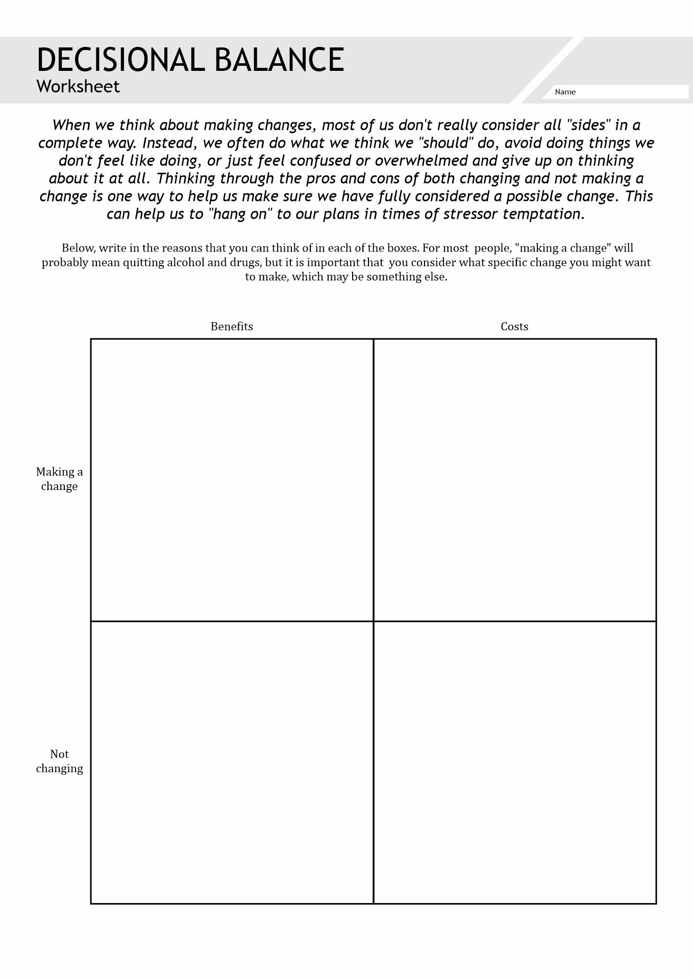 Grief In Substance Abuse Worksheet