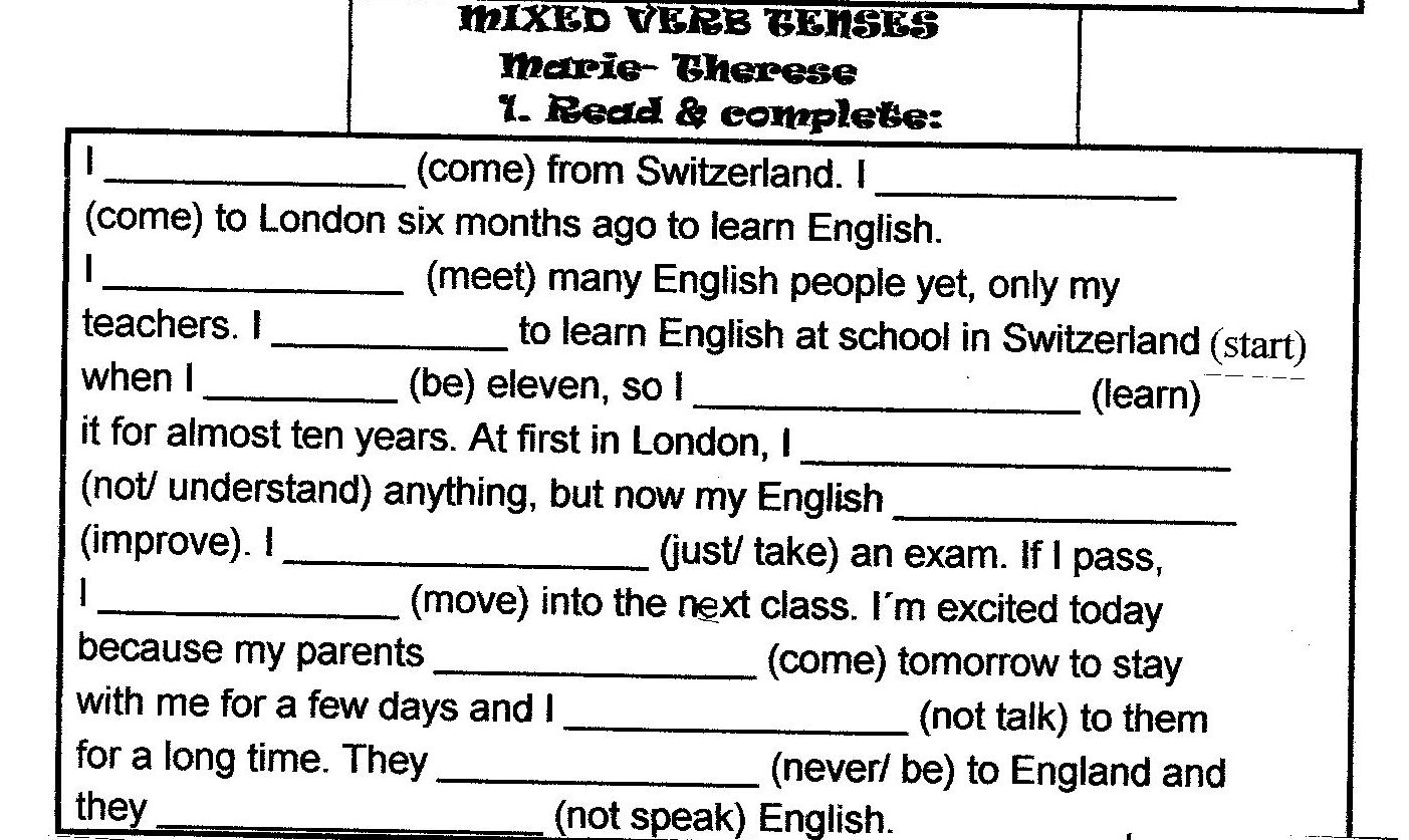 15 Best Images Of Tenses In English Grammar Worksheets