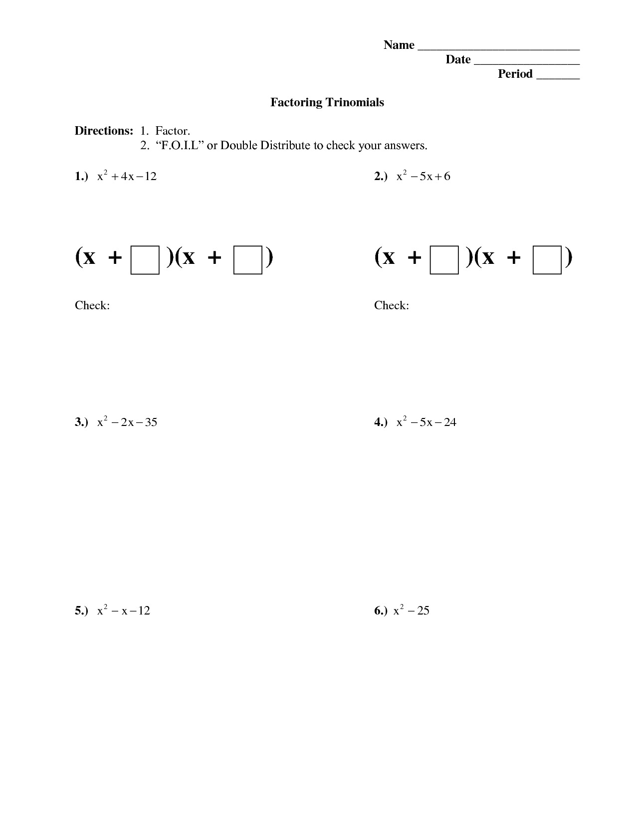 Factorising Quadratics Homework
