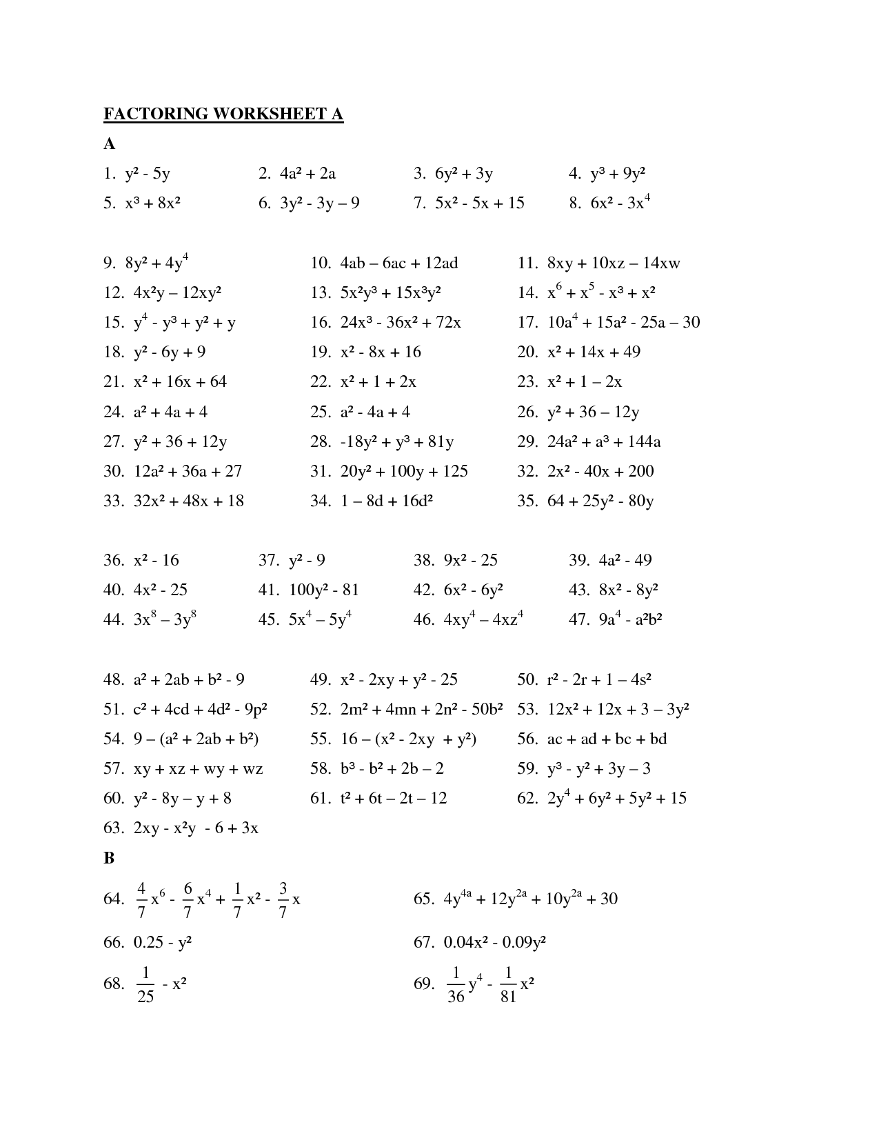 Algebra Factoring Worksheet