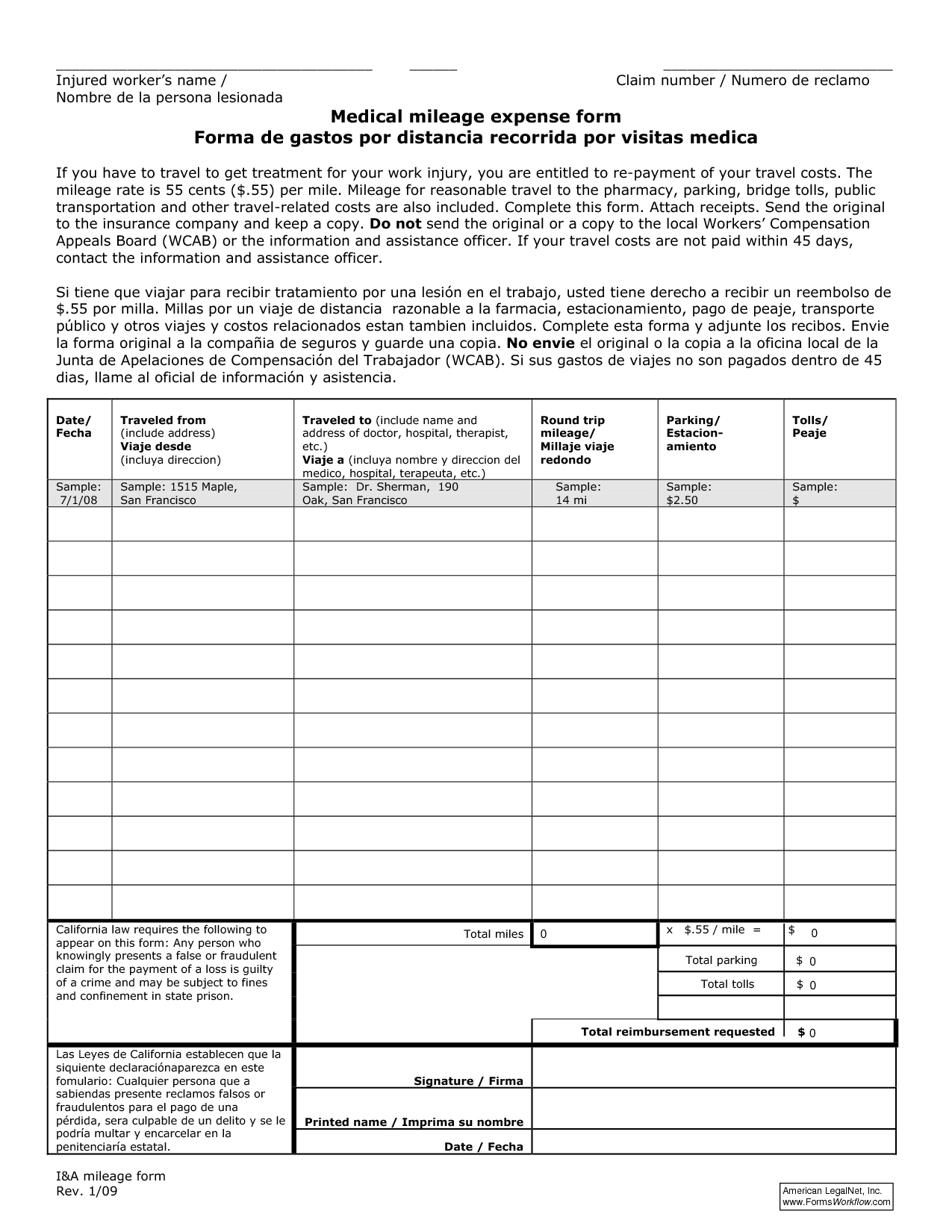 Workers Comp Worksheet