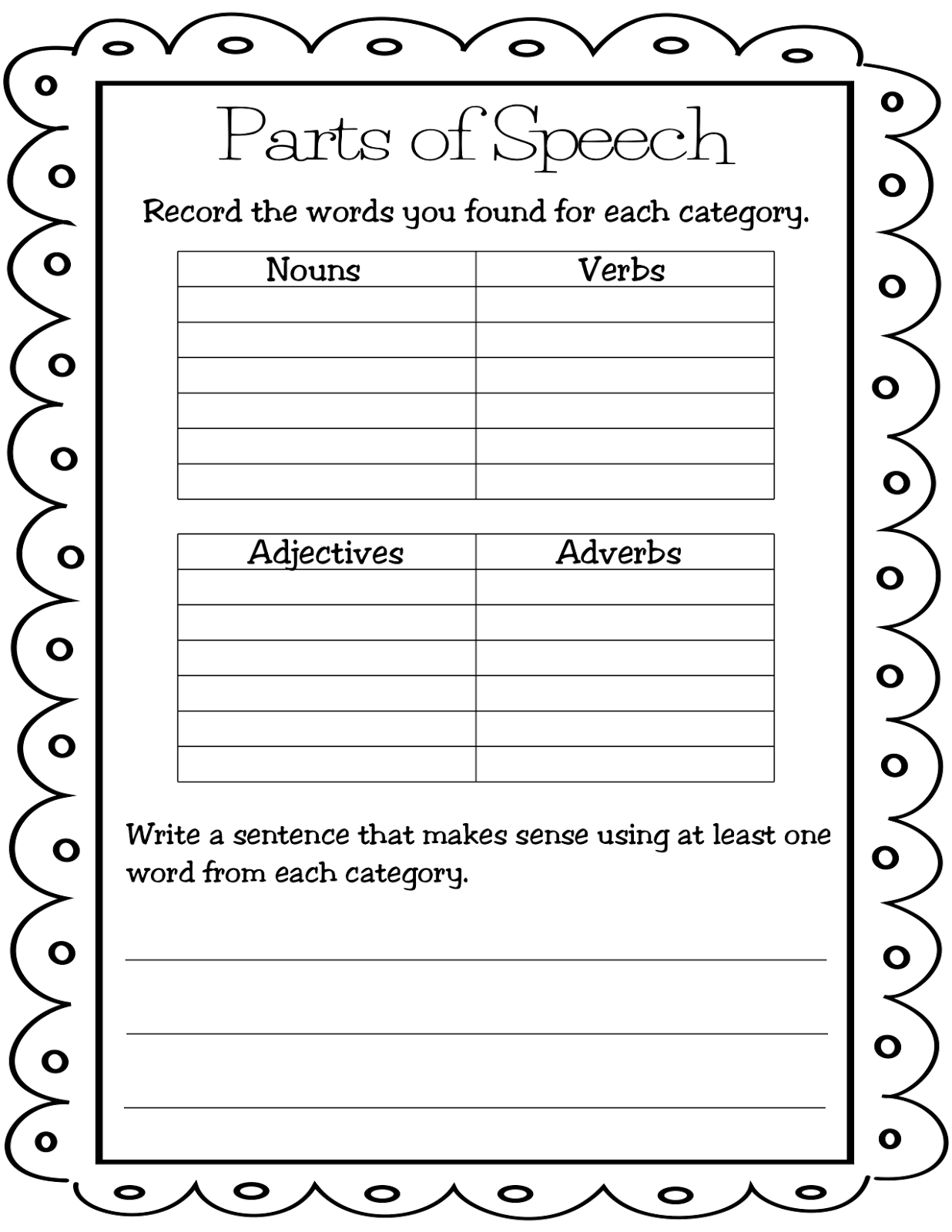 Identify Parts Of Speech Worksheet