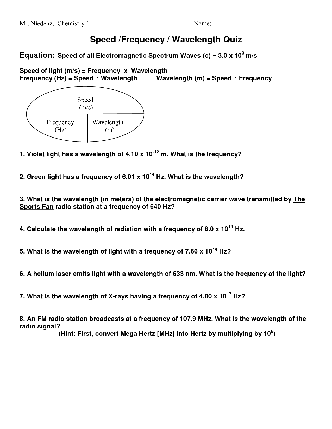 18 Best Images Of Wave Calculations Worksheet