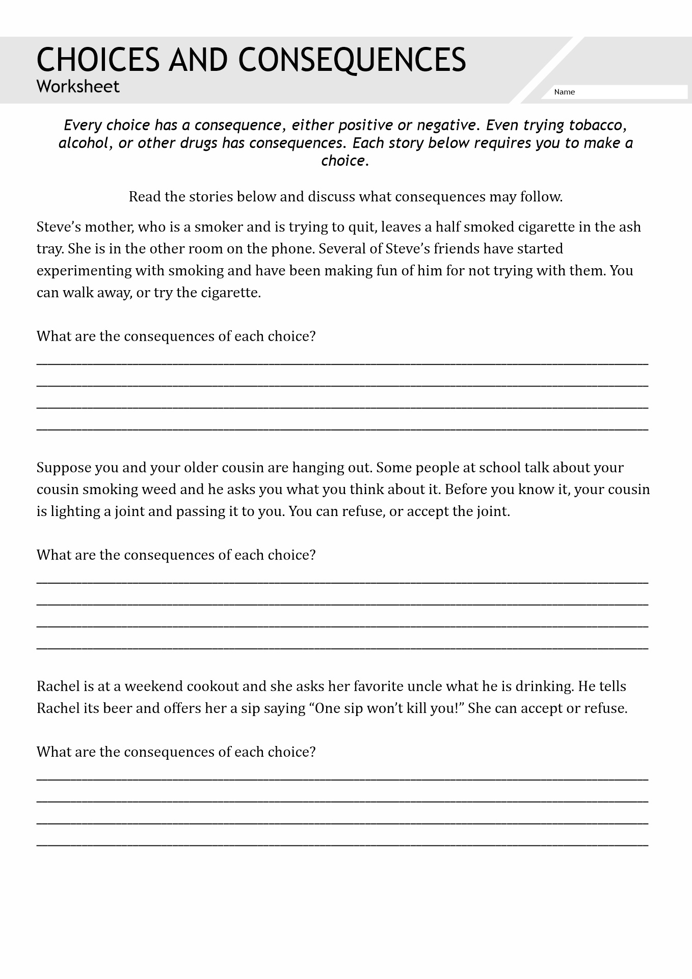 Grief In Substance Abuse Worksheet